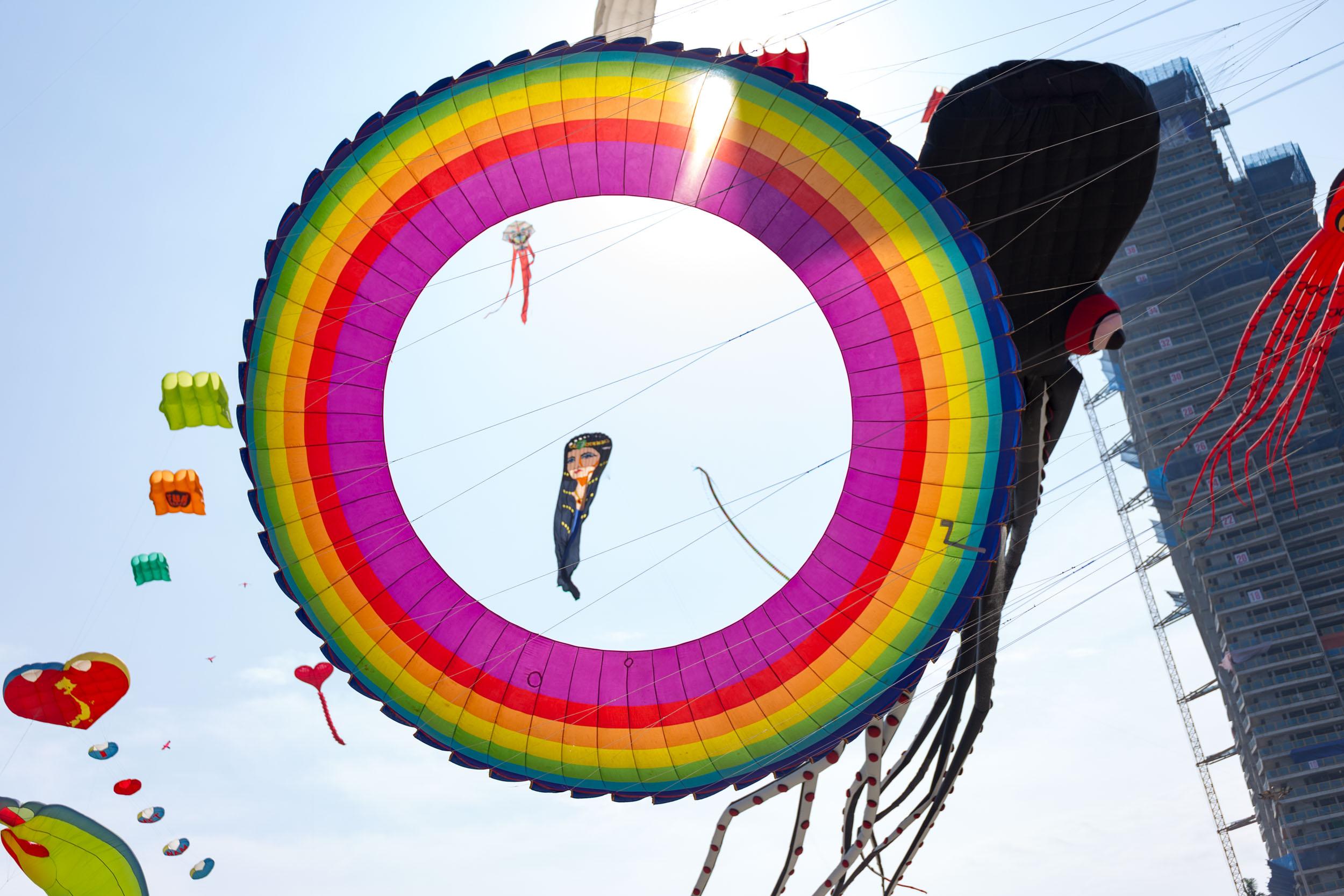 Rainbow kite on Da Nang's beach front.
