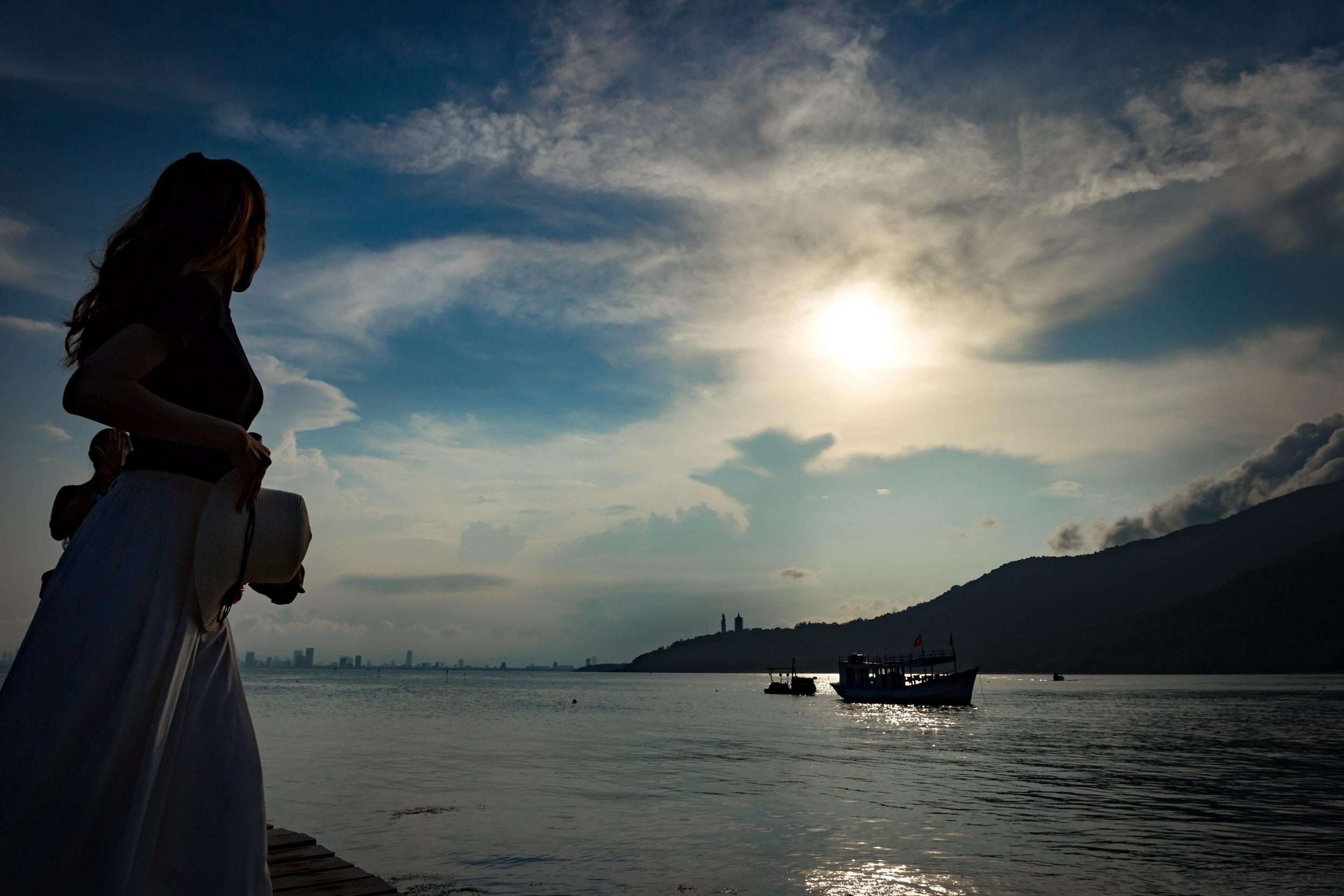 Sunset and skyline from Da Nang Pier. Vietnam.