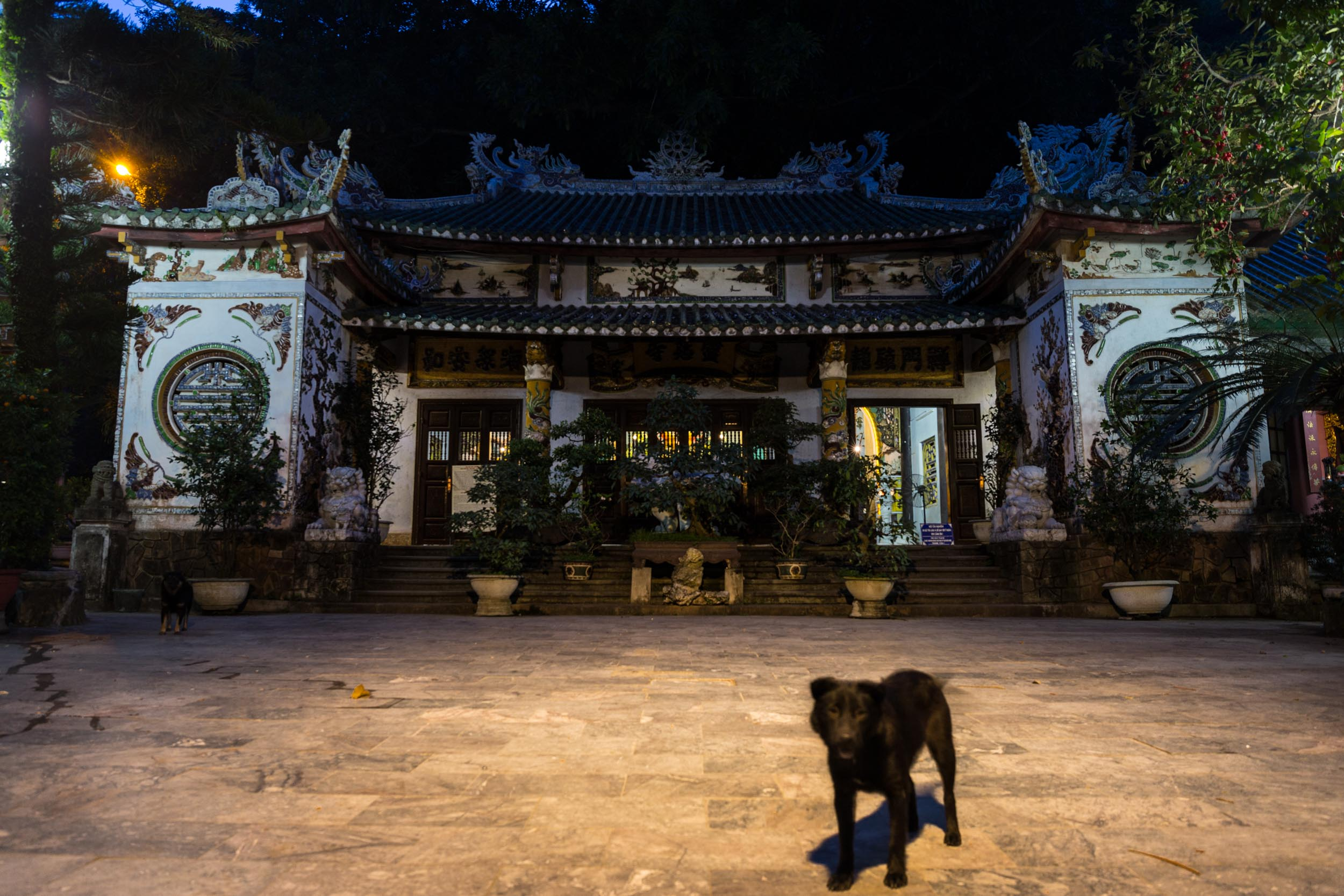 Temple with guard dogs on Marble Mountain, Da Nang, Vietnam.