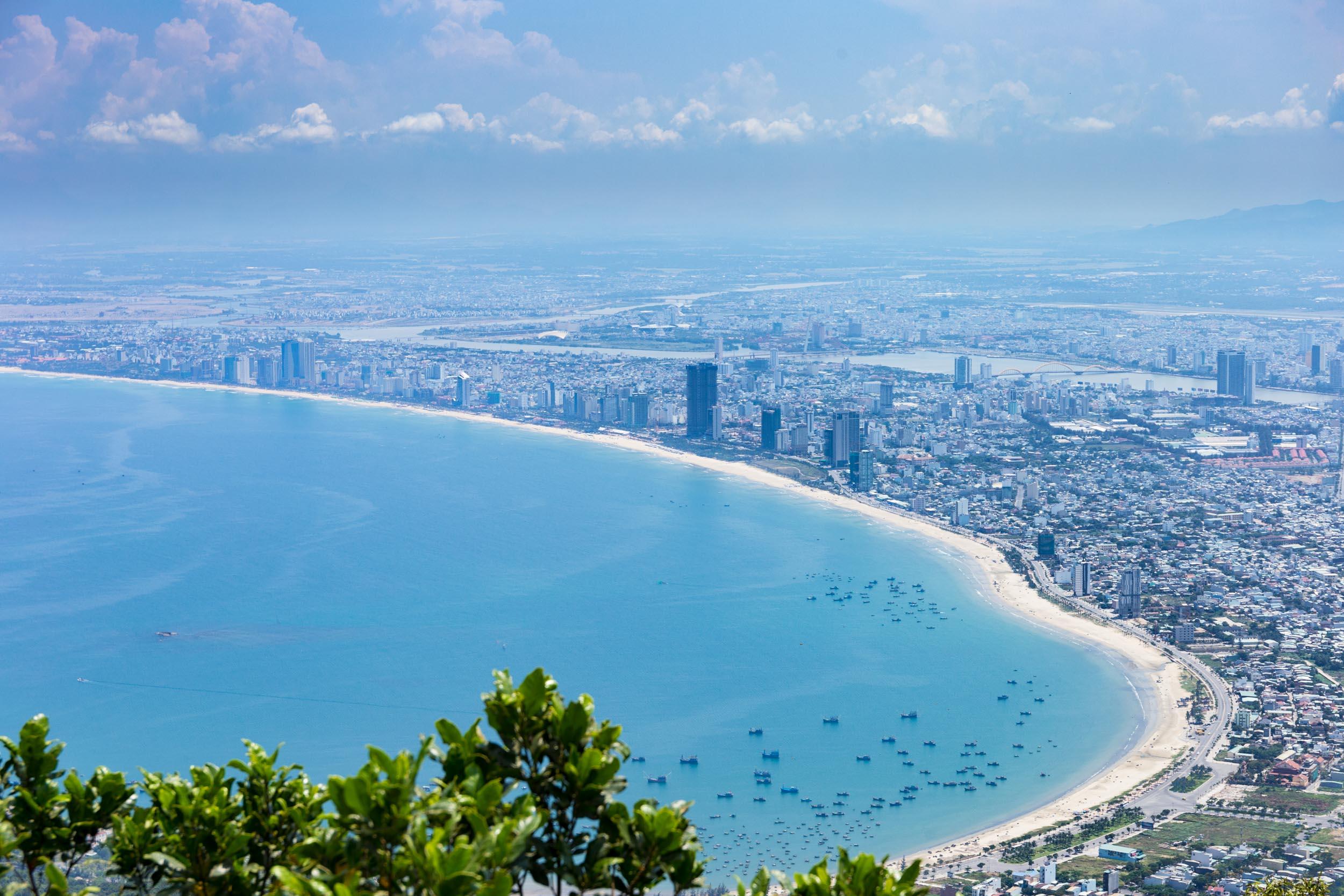 View of Da Nang's East coast beach.