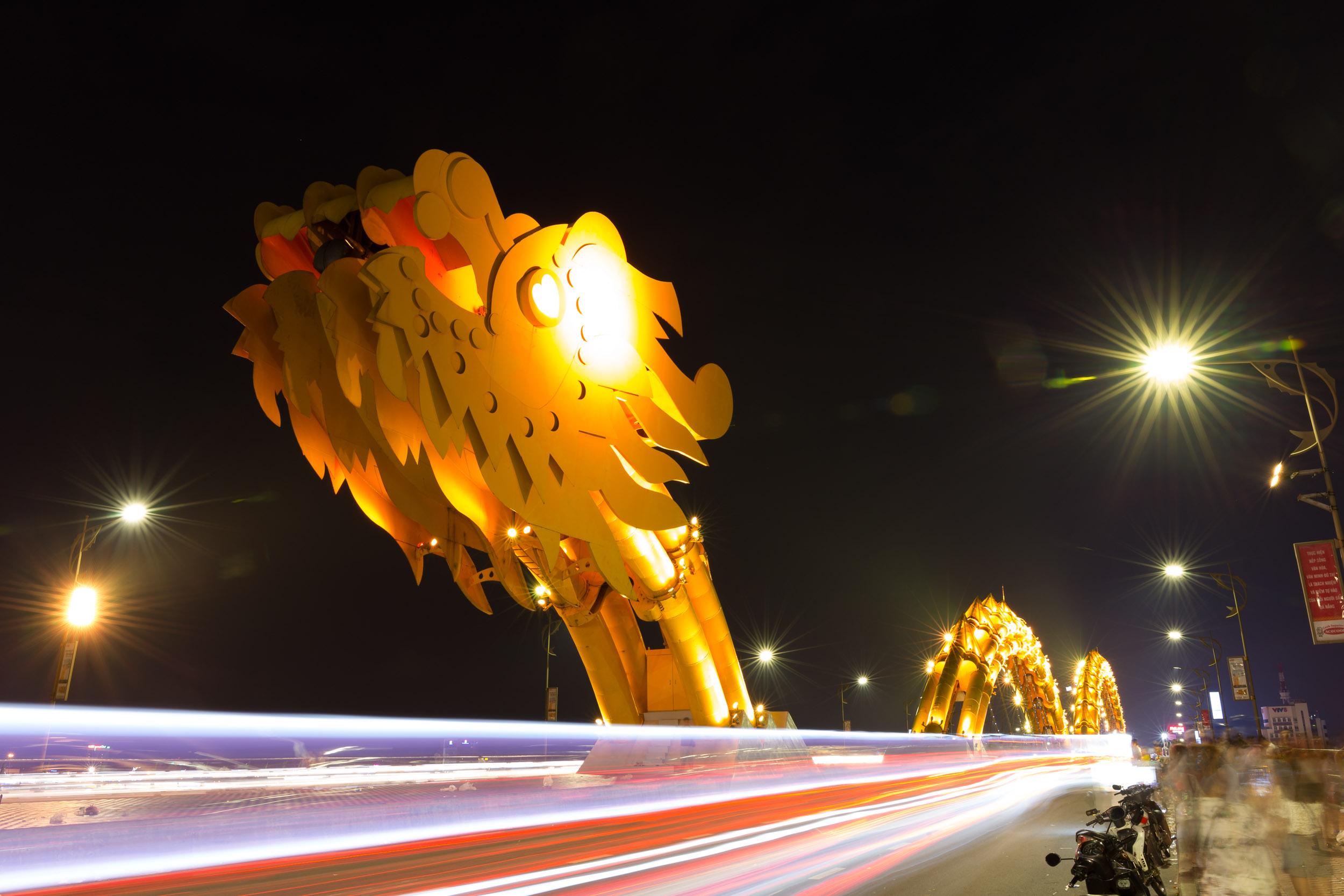 Da Nang's Dragon Bridge at Night