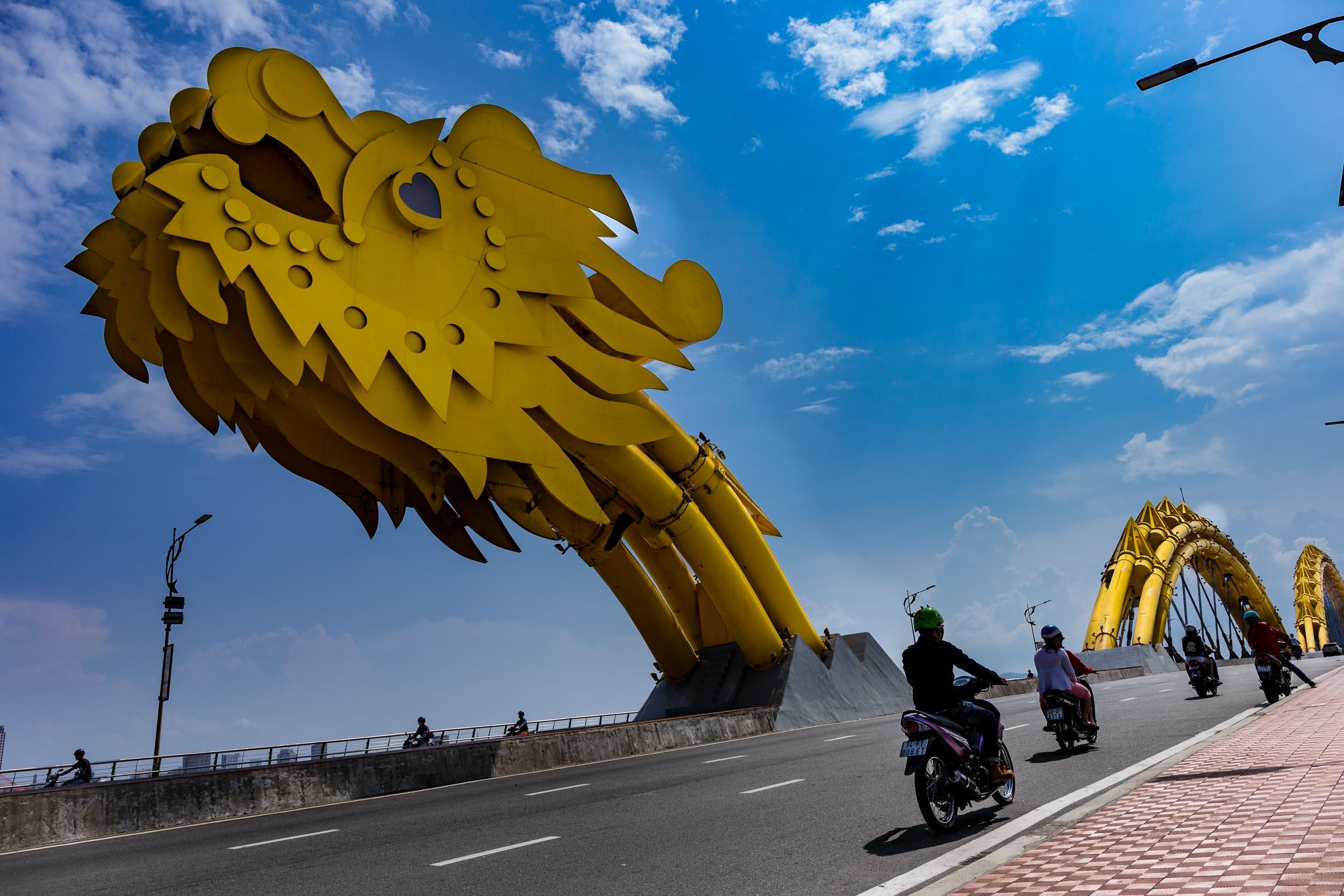 Da Nang's Dragon Bridge by day.