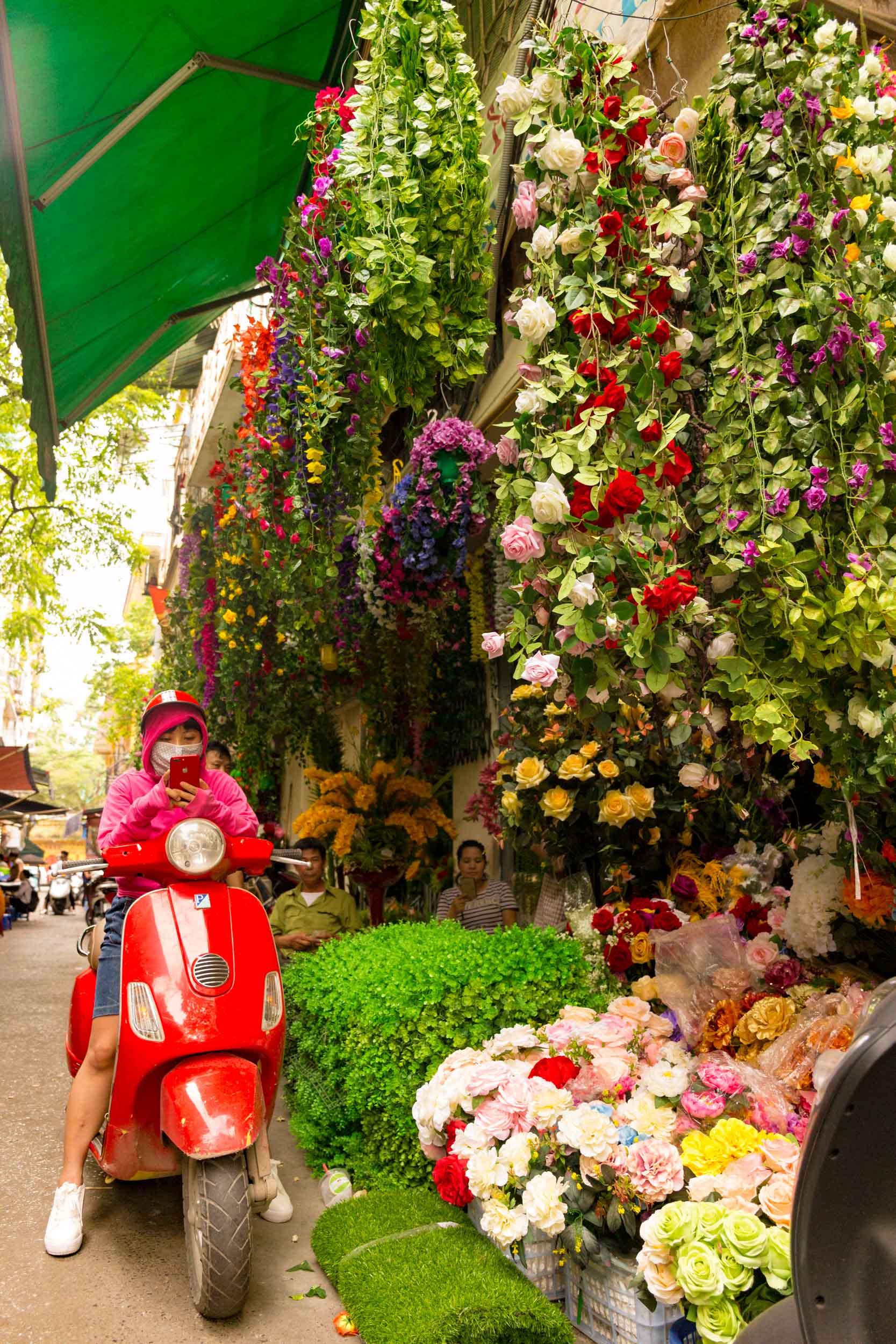 Pretty flower display in Hanoi Vietnam