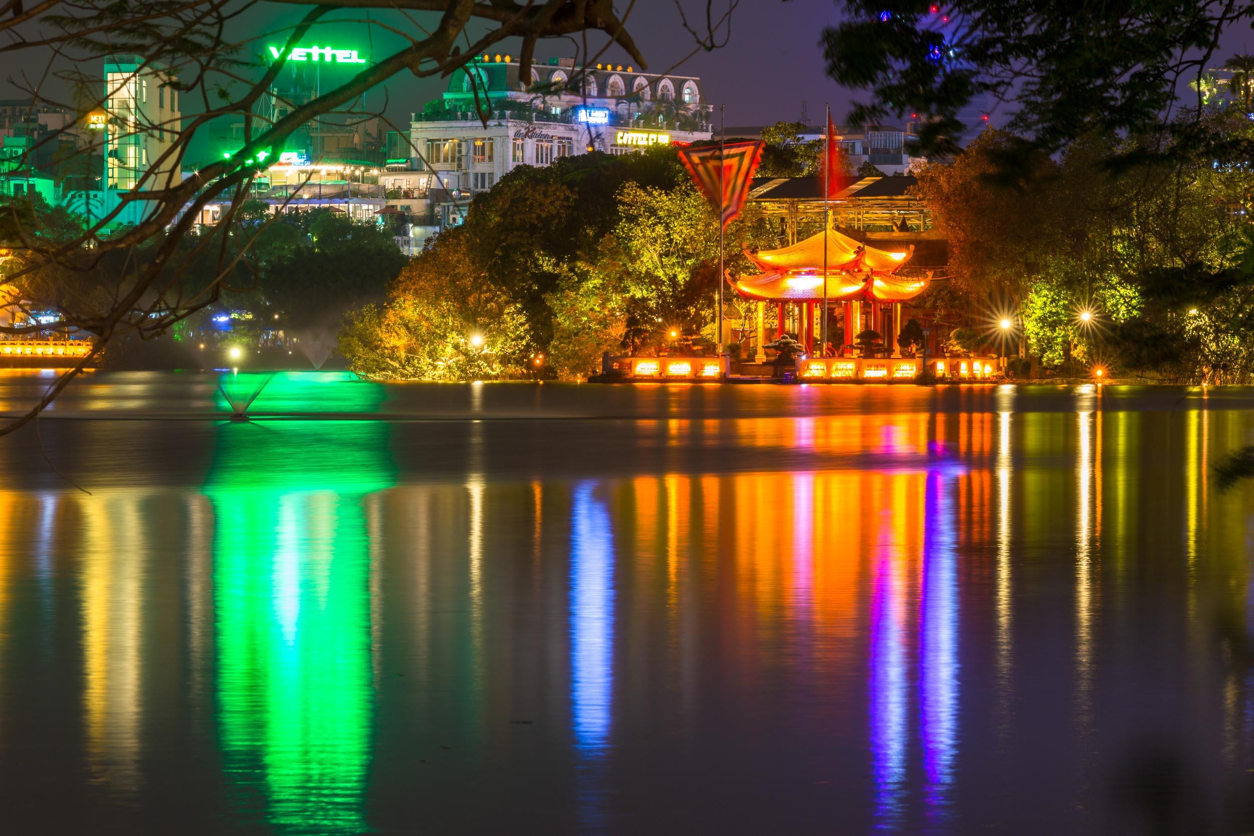 Night shot of temple on Ho Hoan Kiem Lake Hanoi, Vietnam.