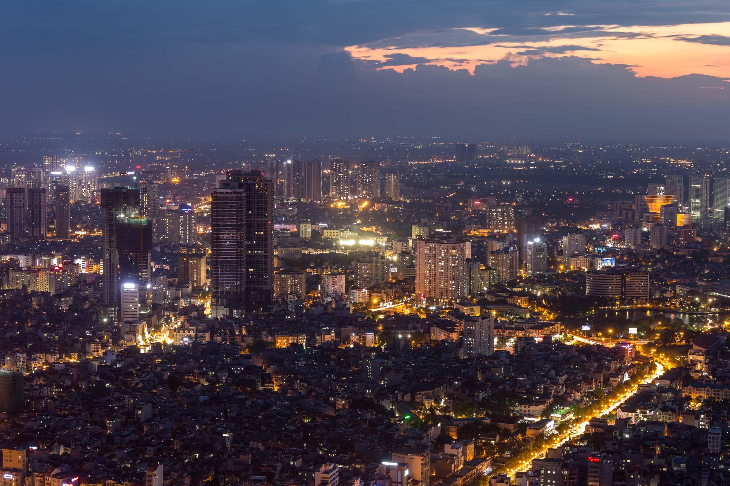 Night shot of Hanoi city scape.