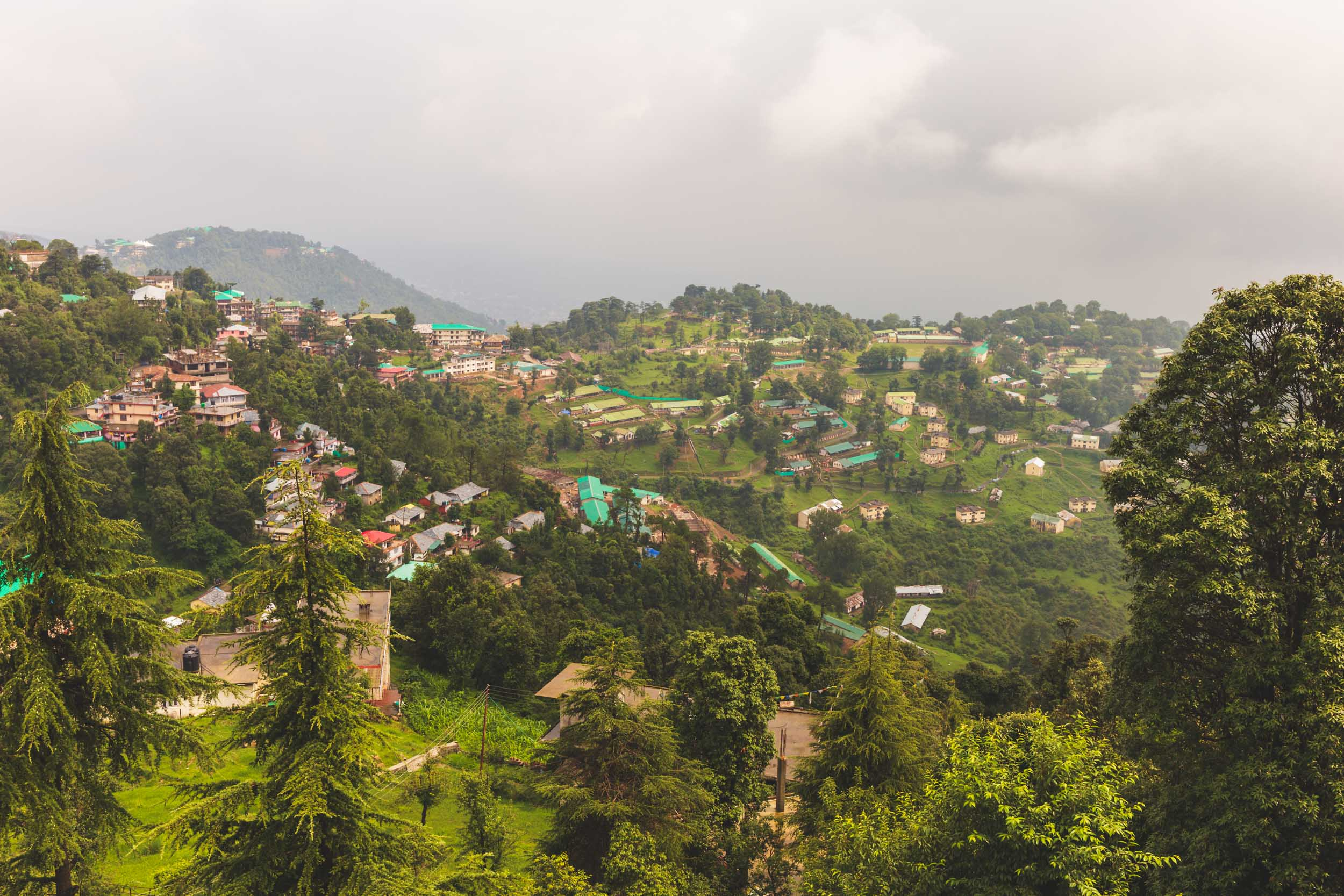 Mountain village landscape in Dharamasala, India.