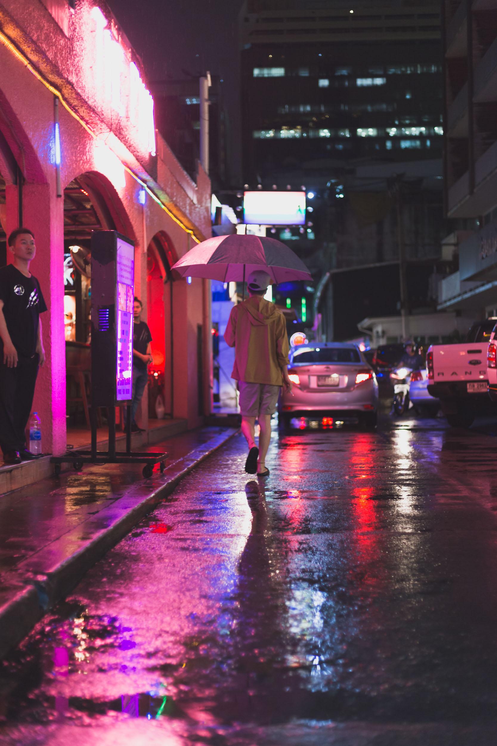 Night Shot in Red Light District Bangkok.