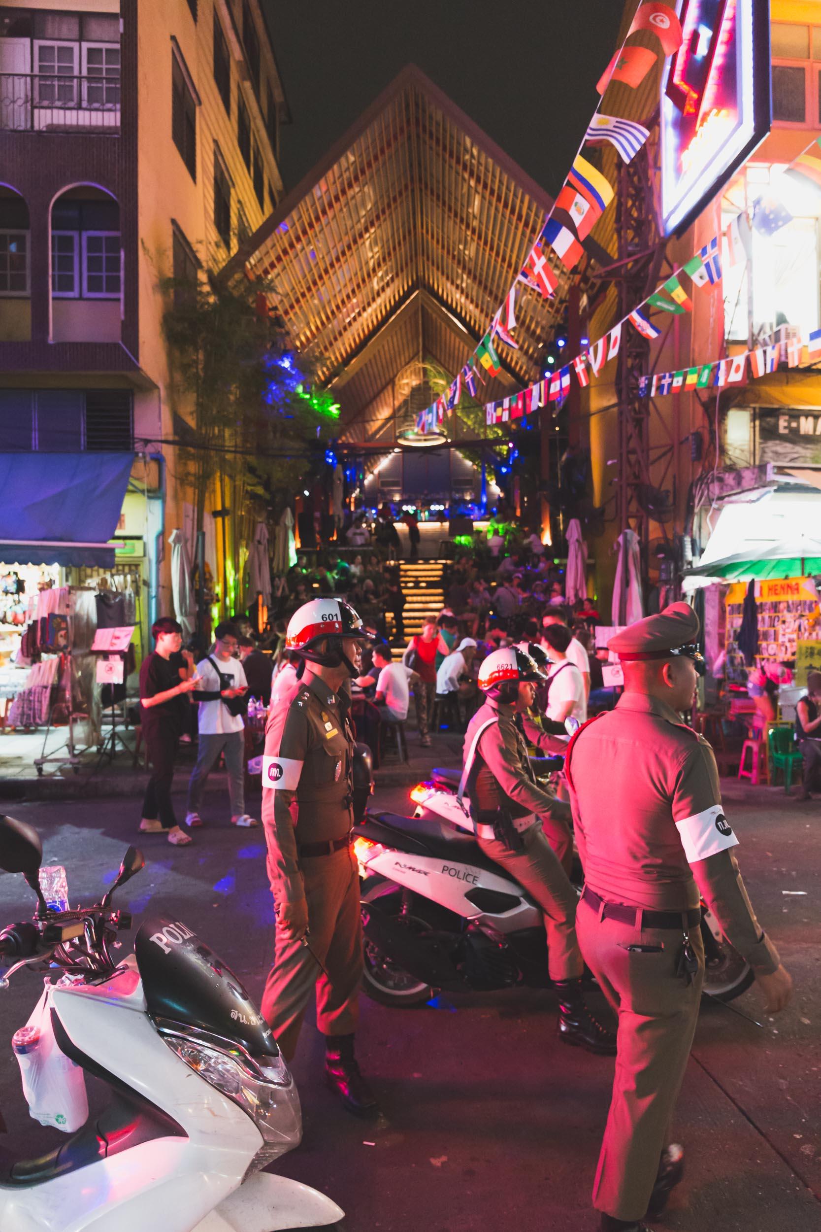 Police Patrol on Khao San Road.