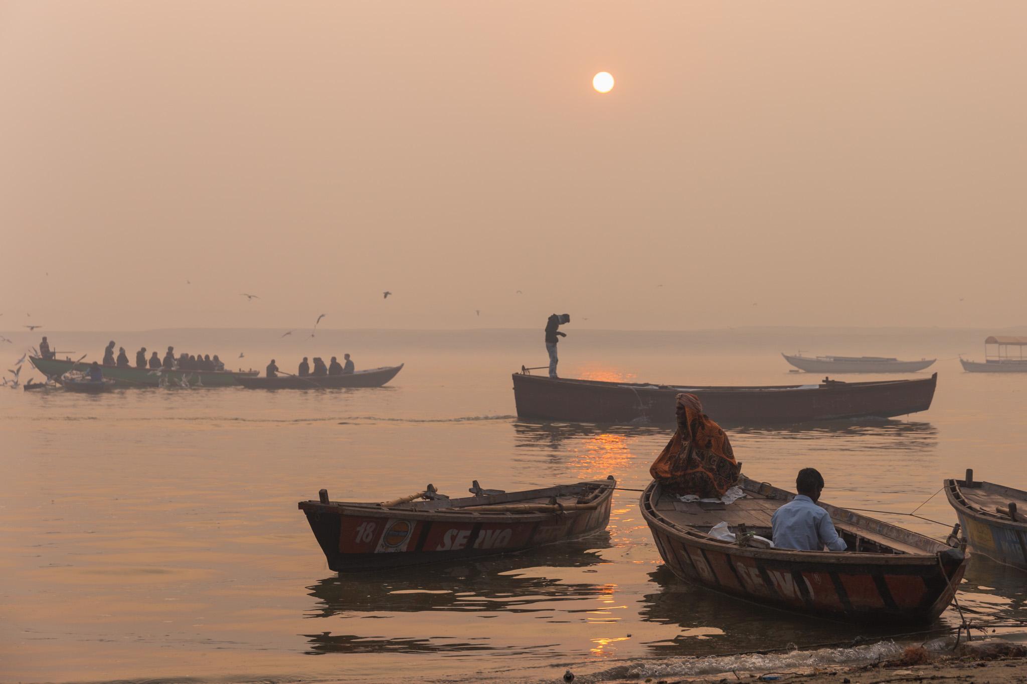 Sunrise on the river Ganges.