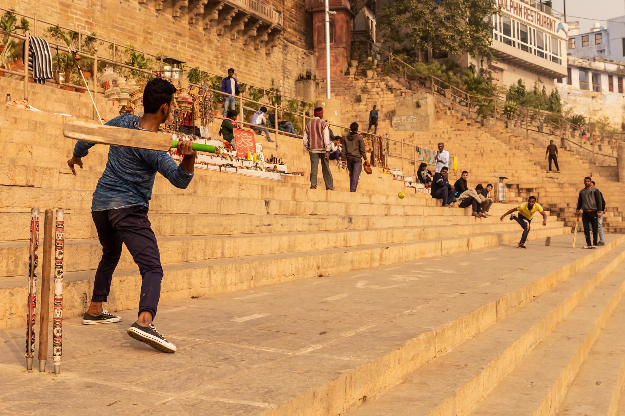 Street cricket players in Varanasi.