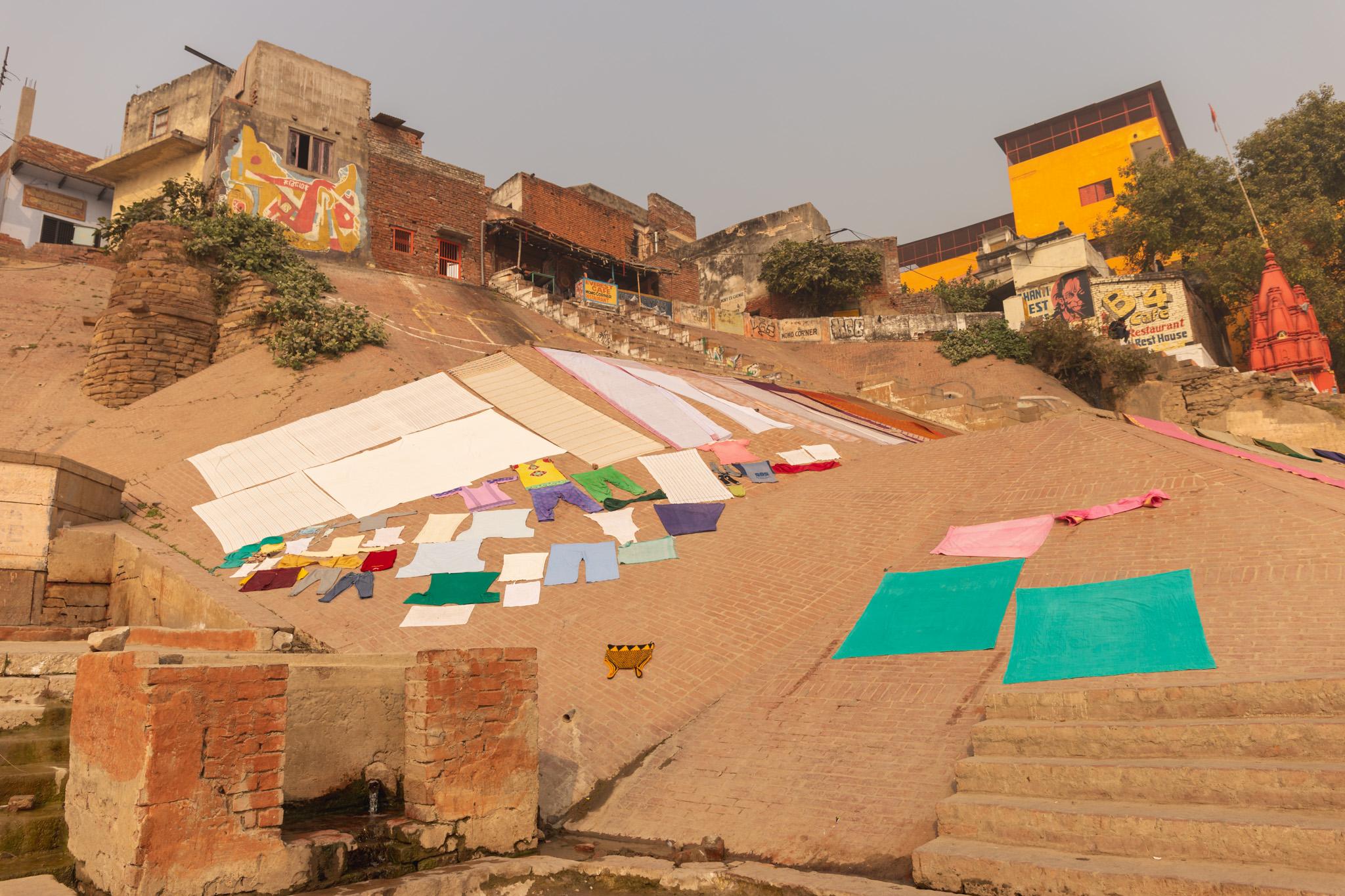 Colourful clothes dry in Varanasi, India.