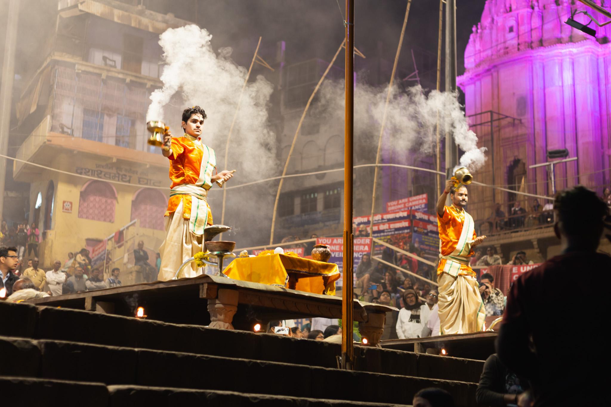 Man with smoke at Varanasi Ceremony.