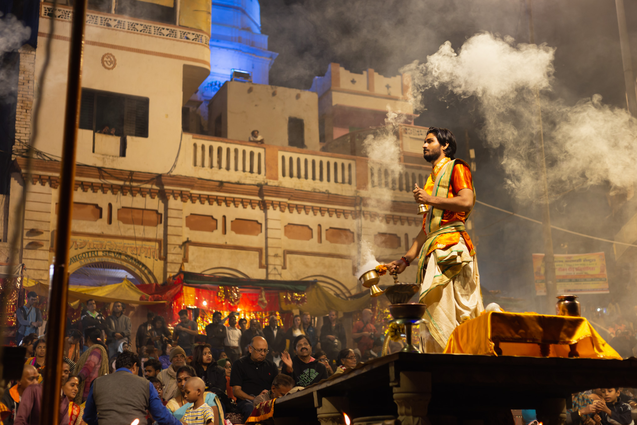 Man during evening ceremony in Varanasi, India.