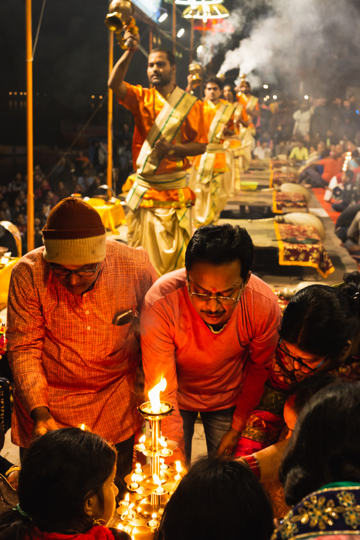 Preparing candles for Ceremony in Varanasi, India.