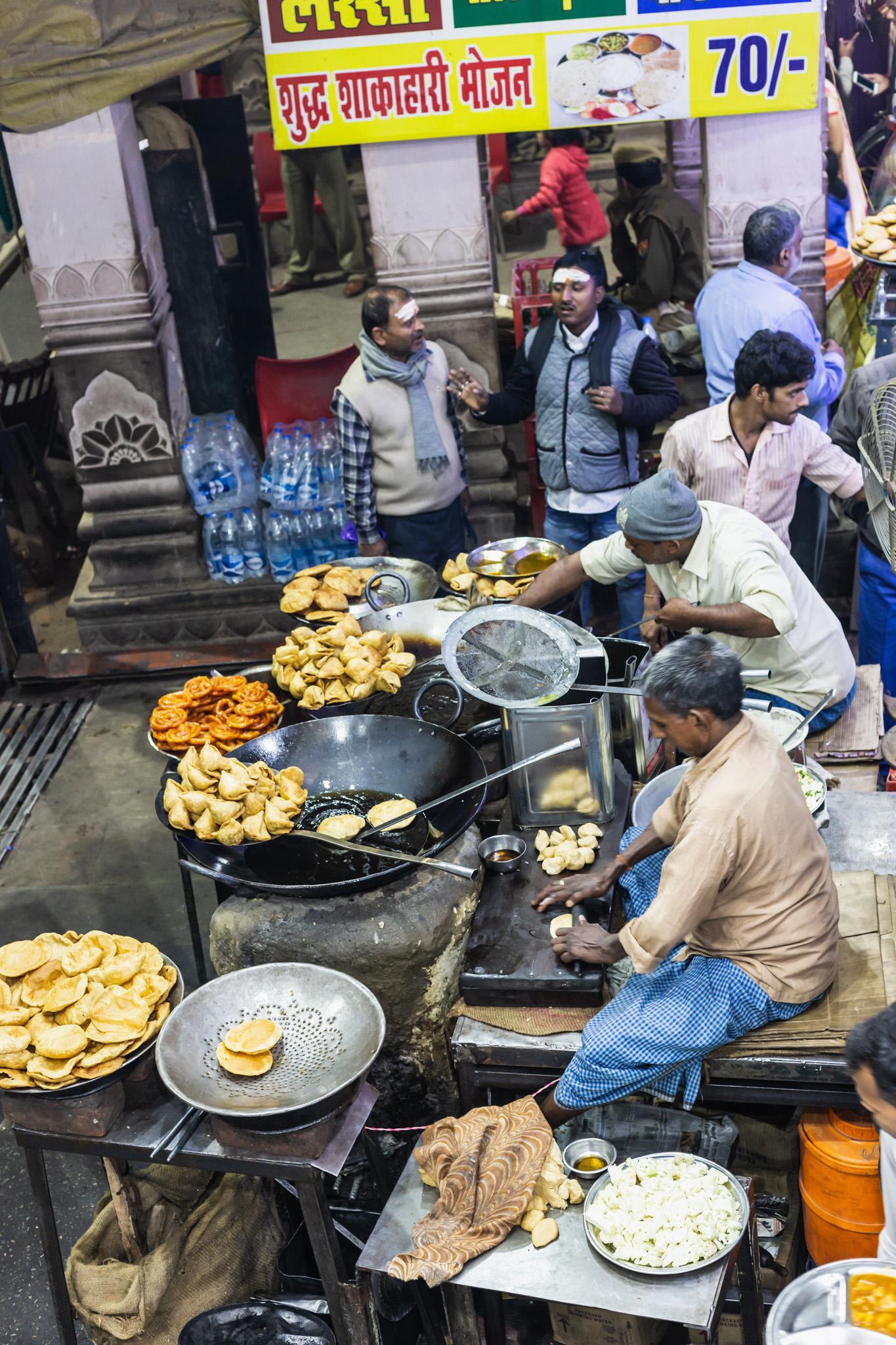 Street food stall in Varanasi, India.