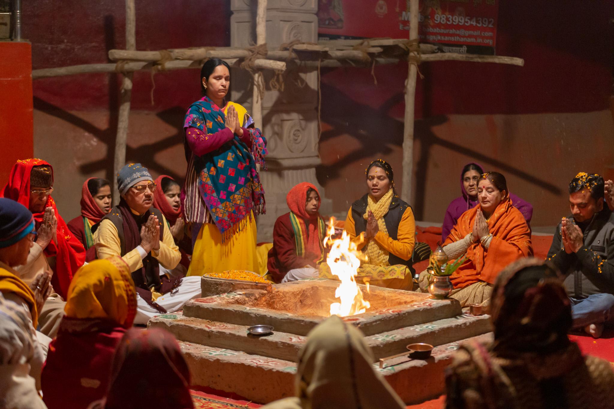 Ceremony around fireplace in Varanasi, India.