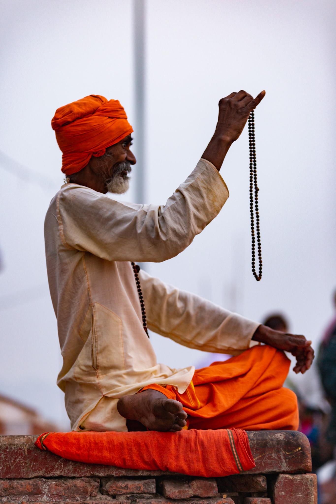 Indian Sadhu bearing holy beads.
