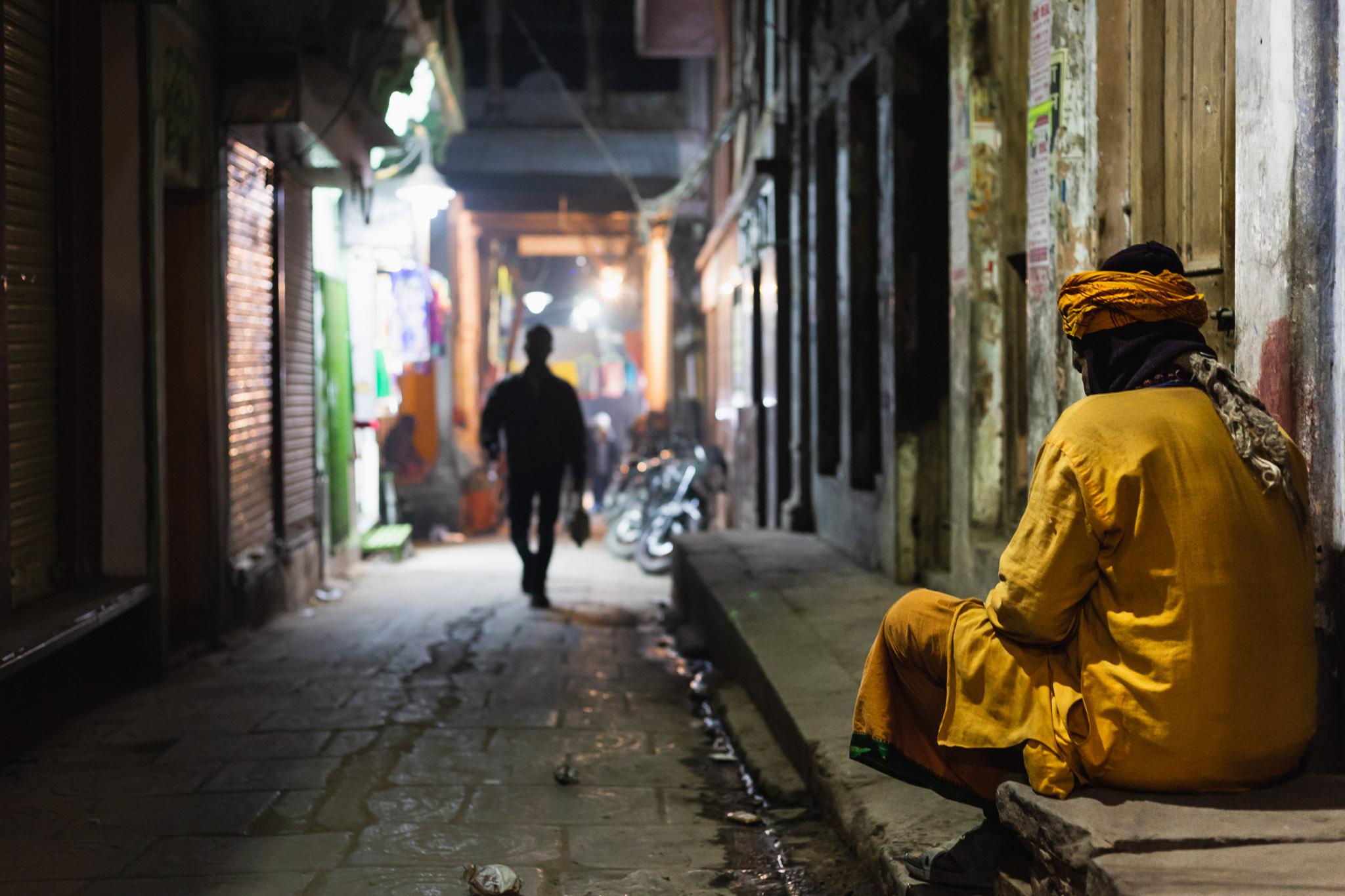 Dark alleyways of Varanasi, India.