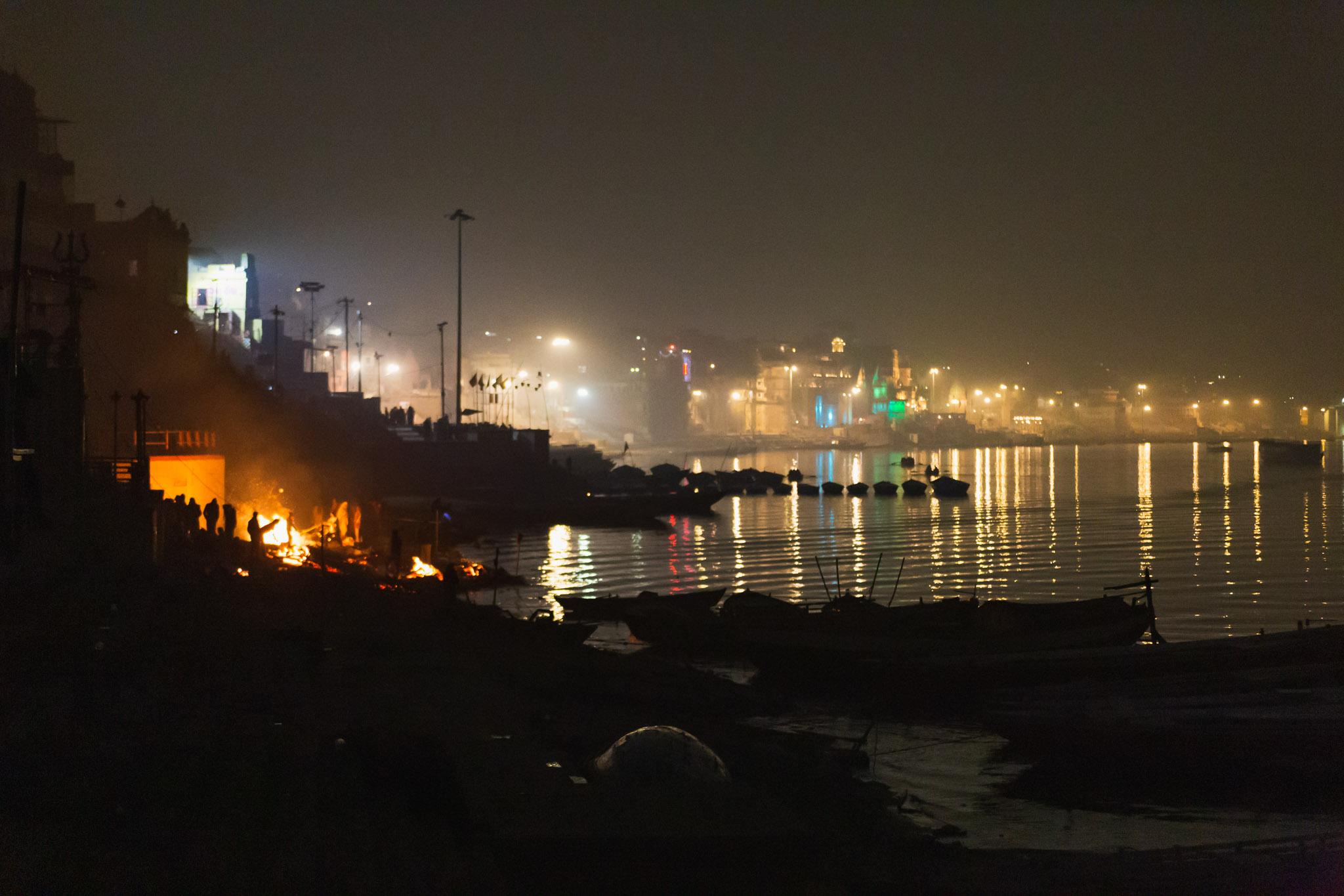Varanasi city scape at night.