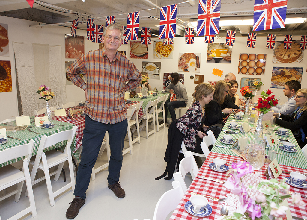 Martin Parr in his pop up restaurant at The Other Art Fair. A joint project with his daughter Ellen Parr who is a chef.