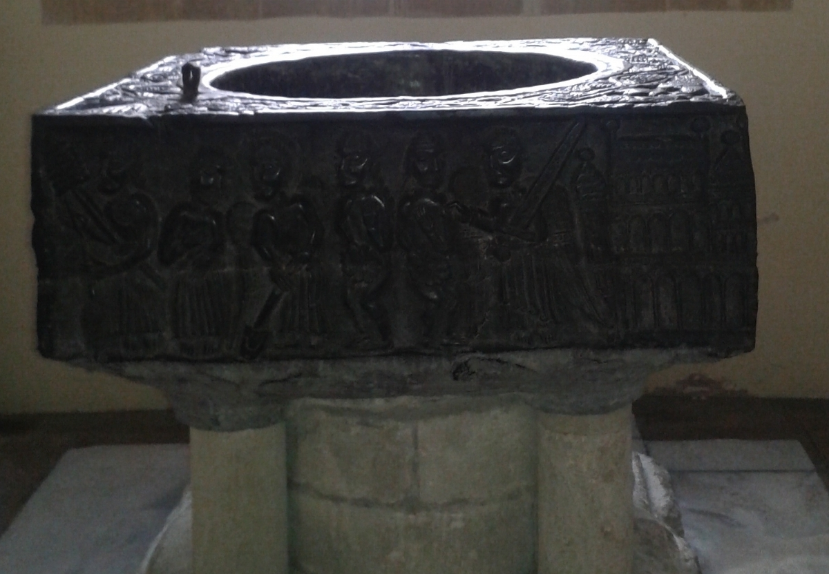 Tournai baptismal font All Saints Church East Meon, Hampshire.
