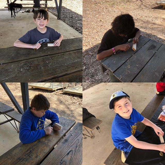 Taking advantage of their whittling chip during their campout. #atlscouts