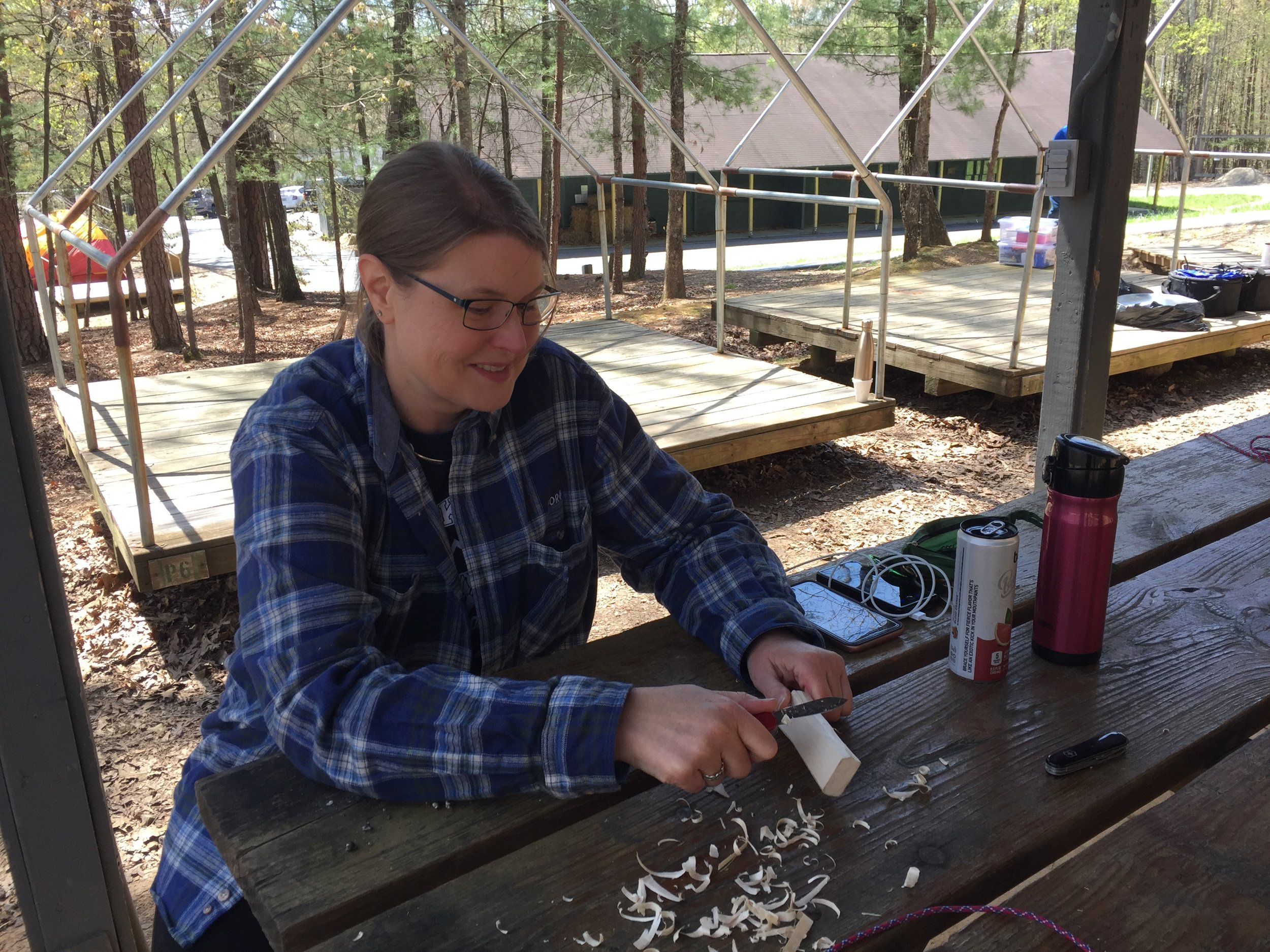 A Mom Practicing Her Whittling Skills