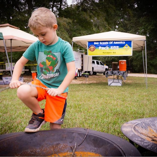 A tiger learning how to make a fire at Spooky-ree @bertadamssc #funwithapurpose #atlscouts
