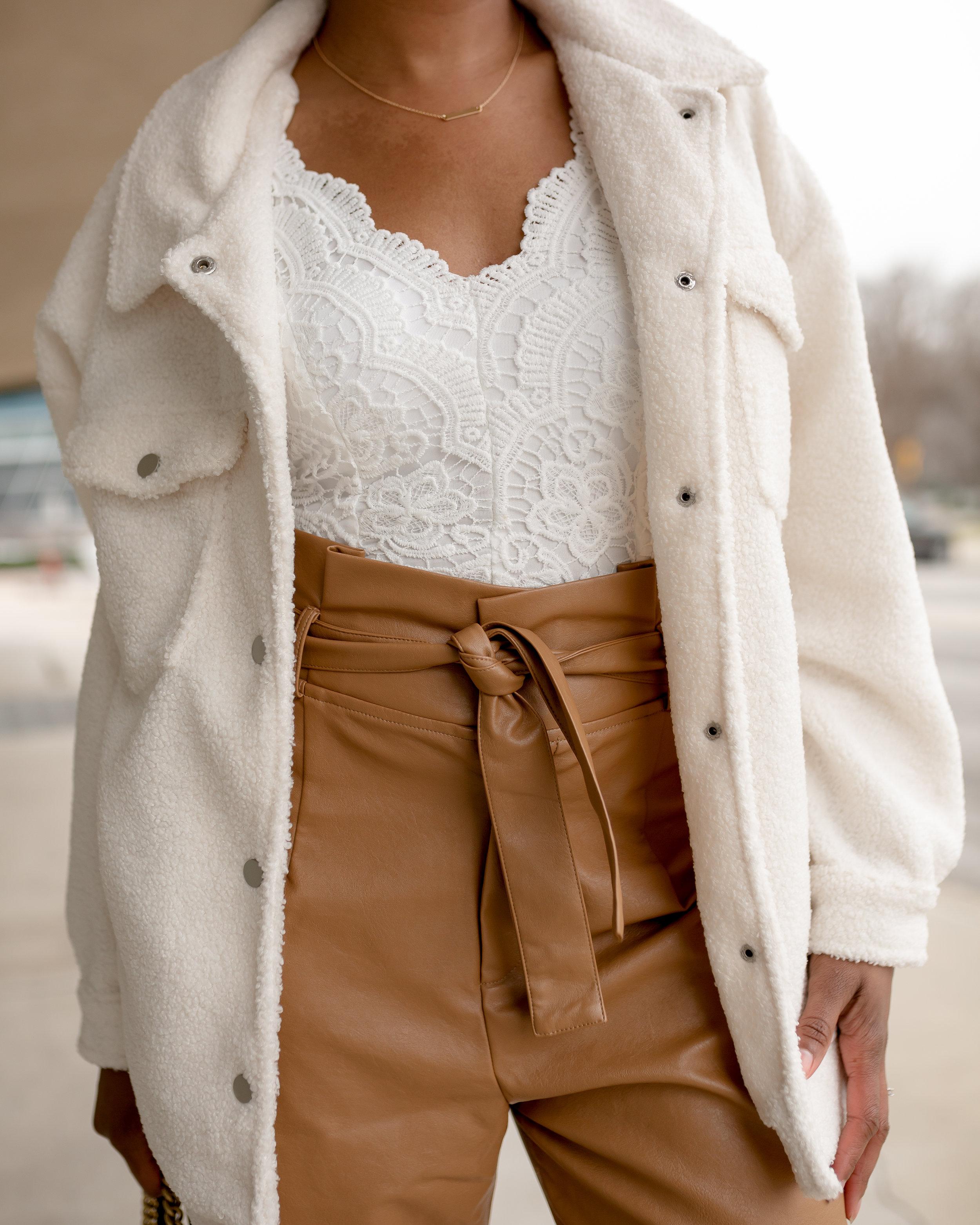 Teddy Faux Fur Trucker Jacket ,  Premium Lace Bodysuit , and  Leather Look Paper Bag High Waist Pants