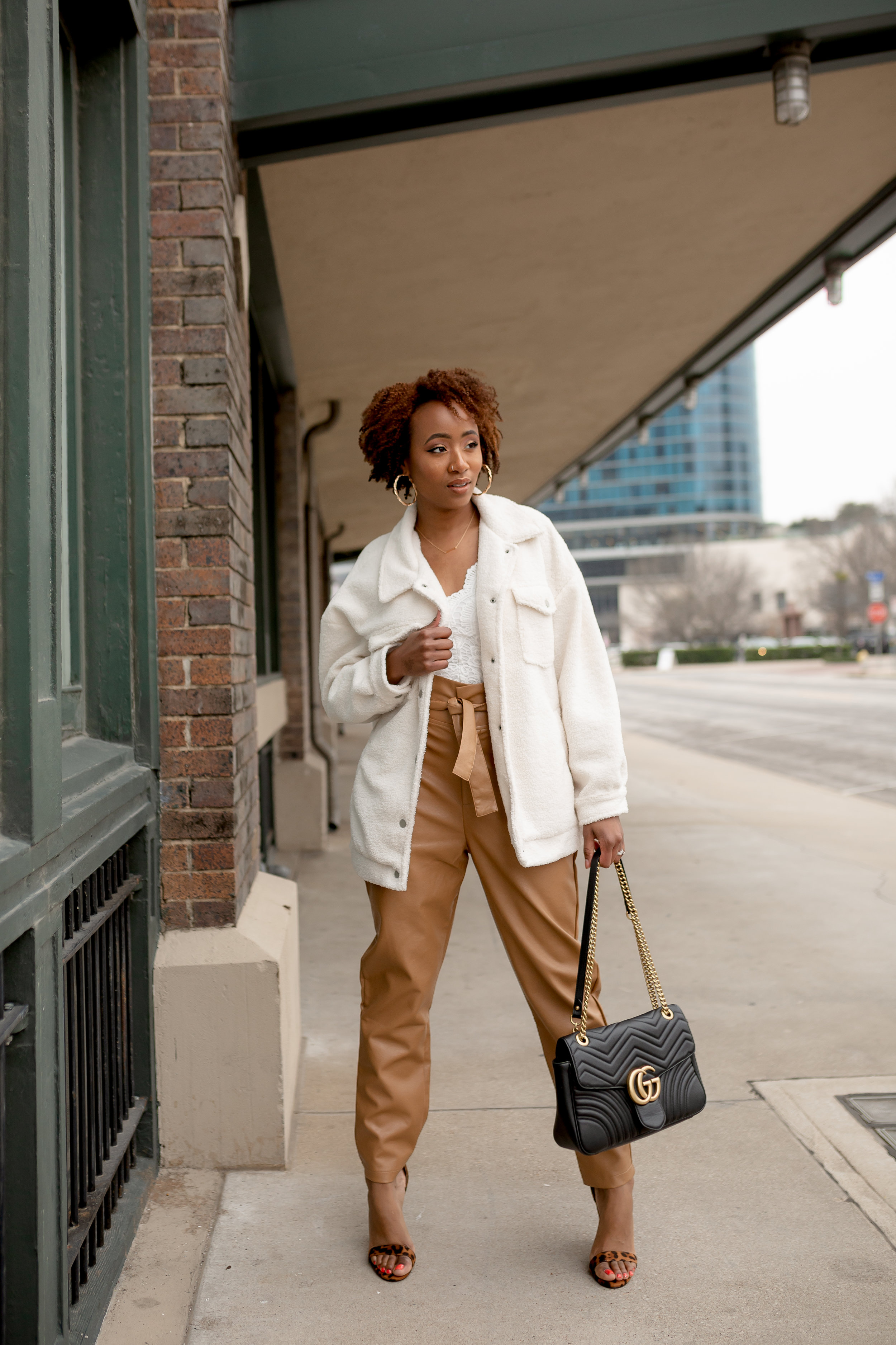 Leather Look Paper Bag High Waist Pants