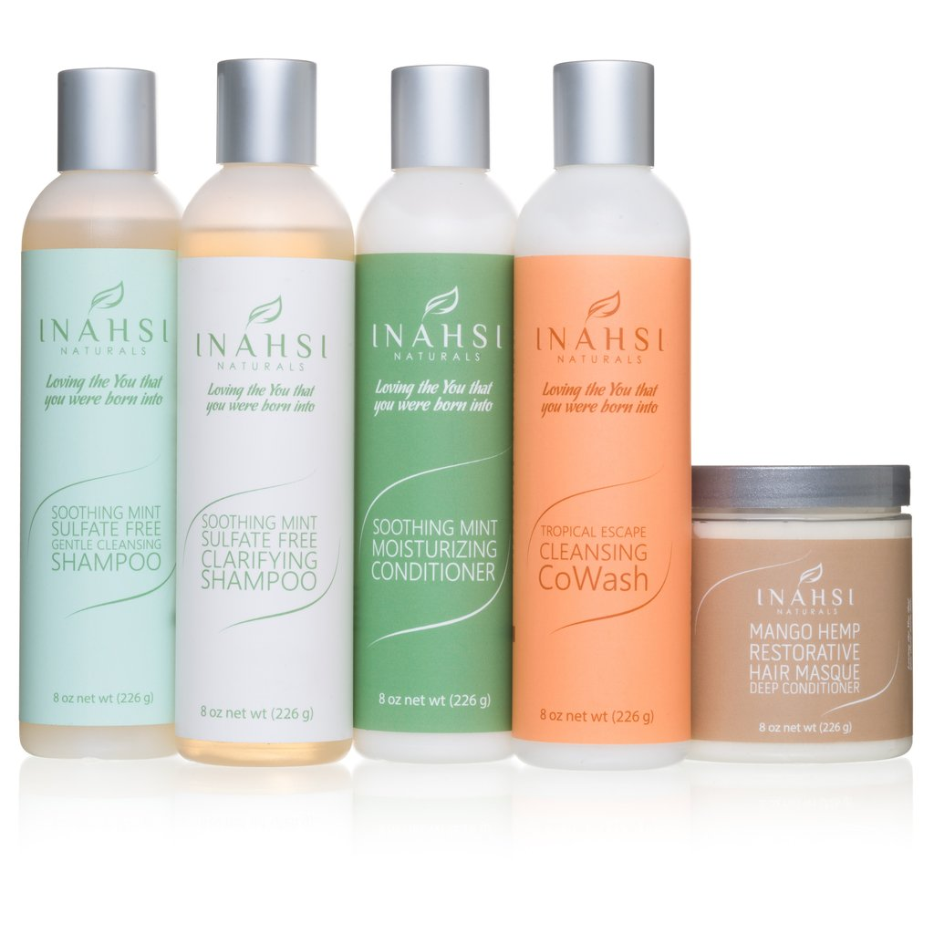 """INAHSI DELUXE WASH DAY SYSTEM   This set includes the clarifying shampoo, moisturizing shampoo, conditioner, co-wash, and deep conditioner at a great bundled price. This set is currently out of stock so purchasing will be a pre-order.   SAVE 15% ON YOUR PURCHASE WITH """"ASEAMAE15"""".     CLICK TO SHOP"""