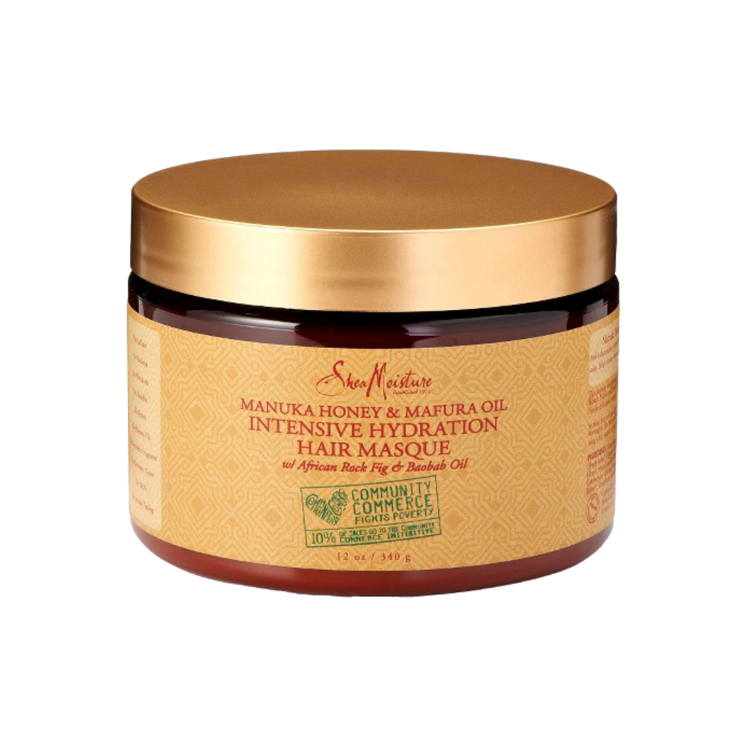 SHEA MOISTURE MANUKA HONEY & MAFURA OIL INTENSIVE HYDRATION HAIR MASQUE   MY OG FAVE deep conditioner. I have used this for the longest in my hair journey. I currently prefer more minty deep conditioners, but this is an AMAZING hydrating conditioner. Perfect for dehydrated curls and maintaining moisture.   CURRENTLY BUY ONE GET ONE 50% OFF.     CLICK TO SHOP