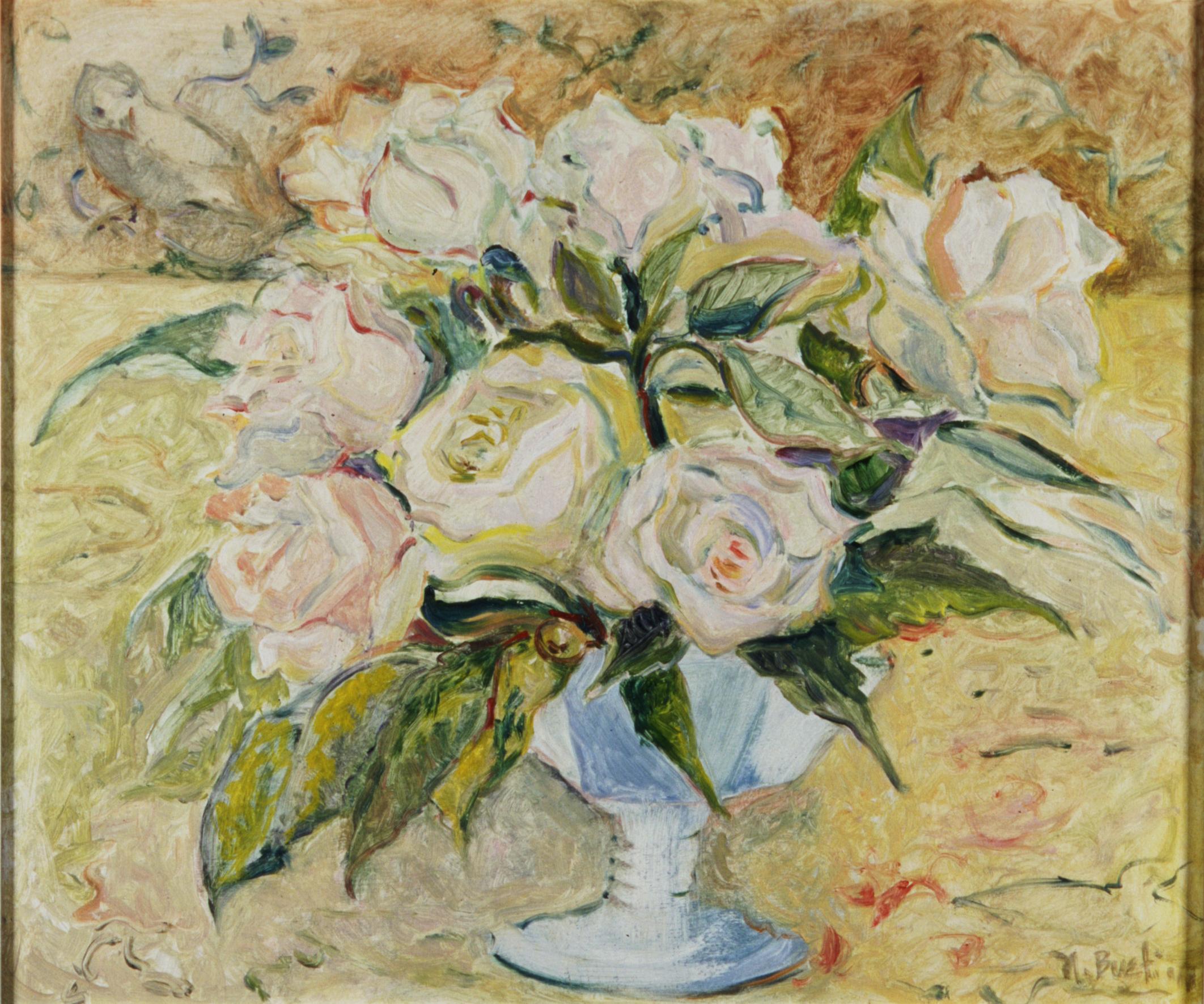 White Roses, Blue Vase  14X16-oil on board