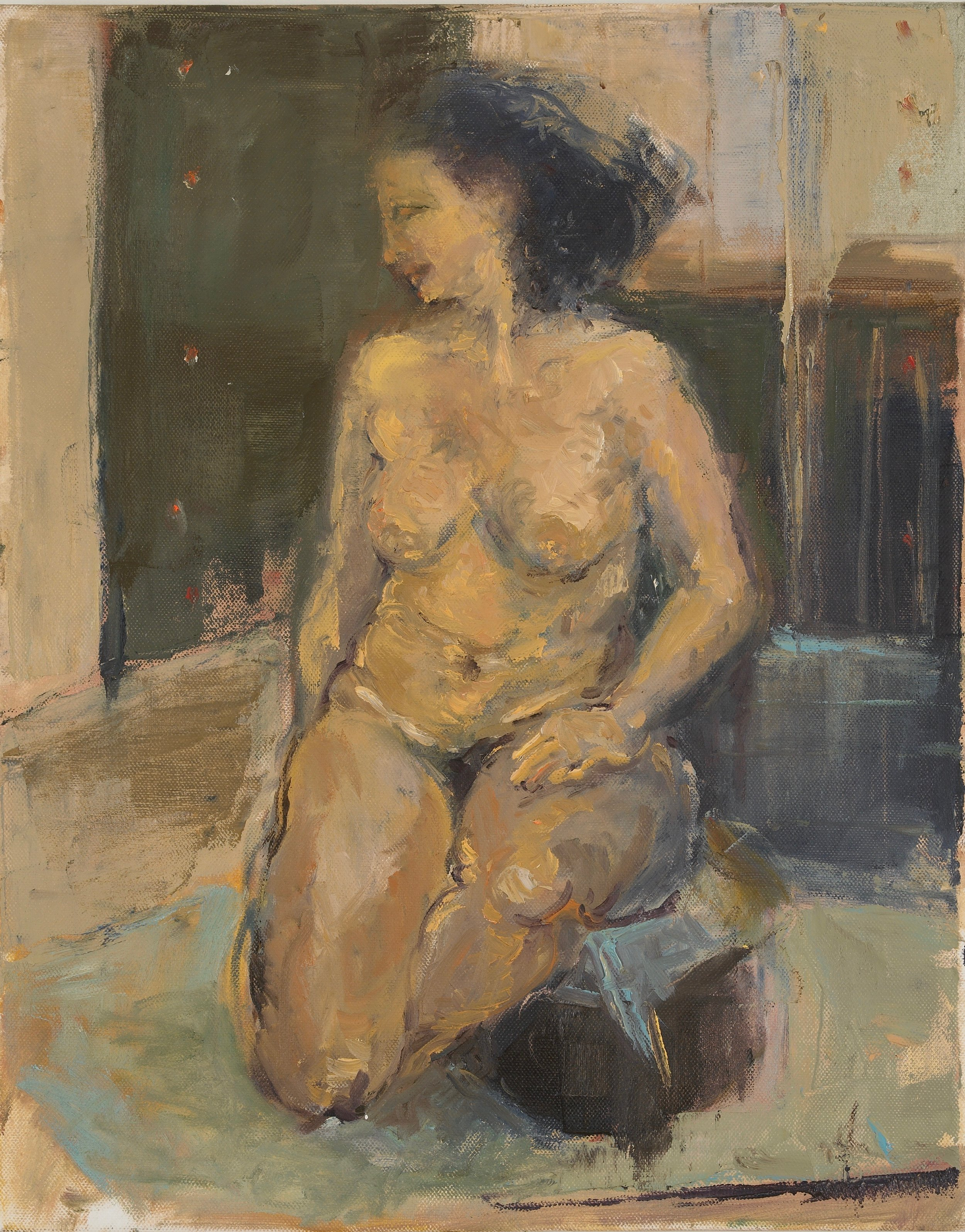 Nude on Short Stool  14X16 - Oil on Board
