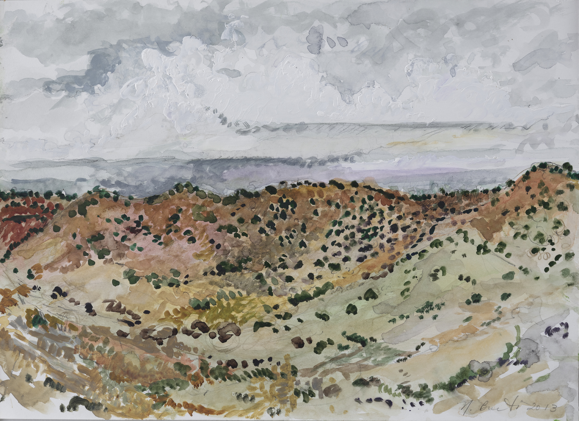 New Mexico near Santa Fe  10x14-gouche on paper