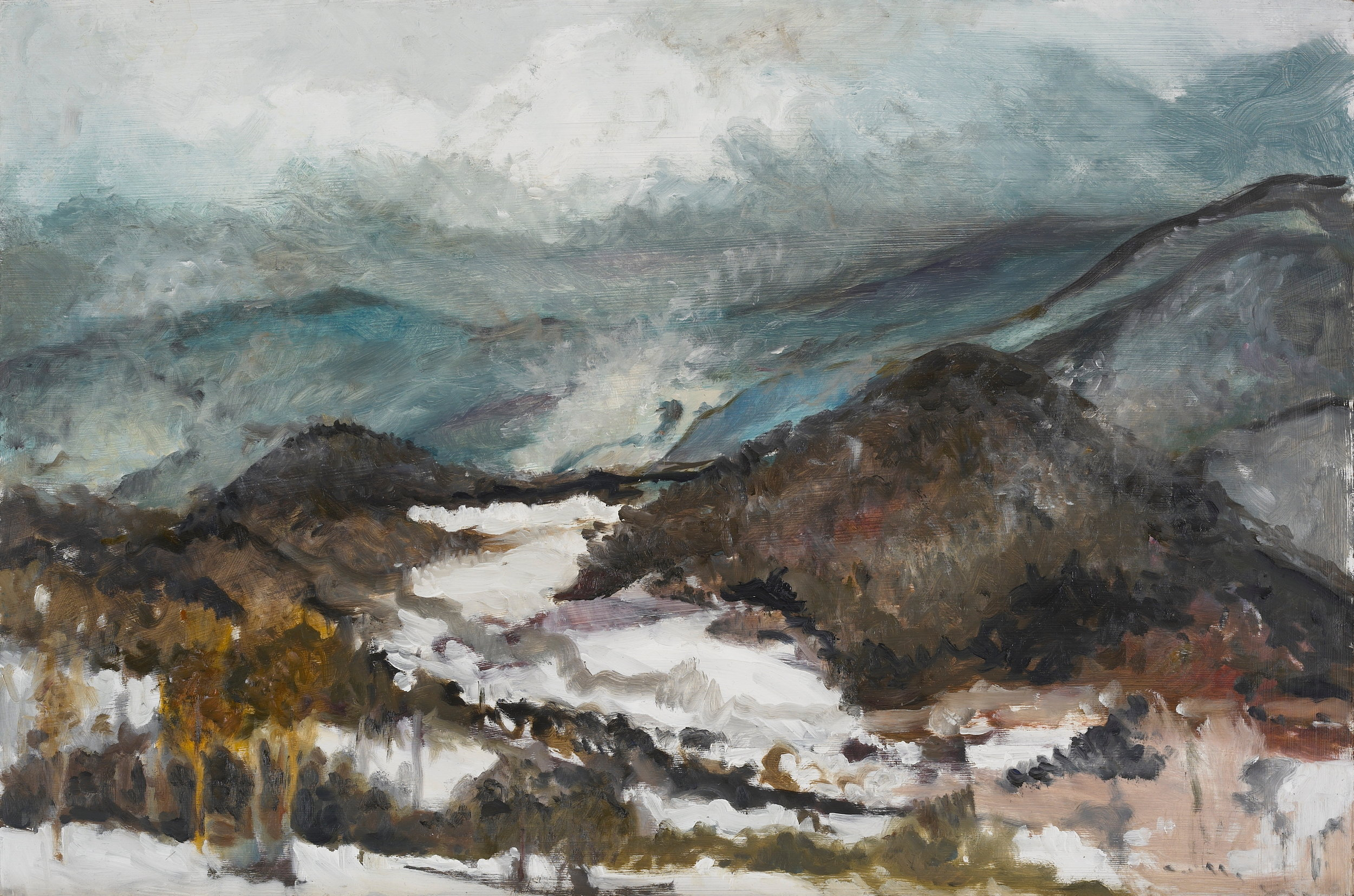 Misty Mountain View  19X14 - Oil on Board