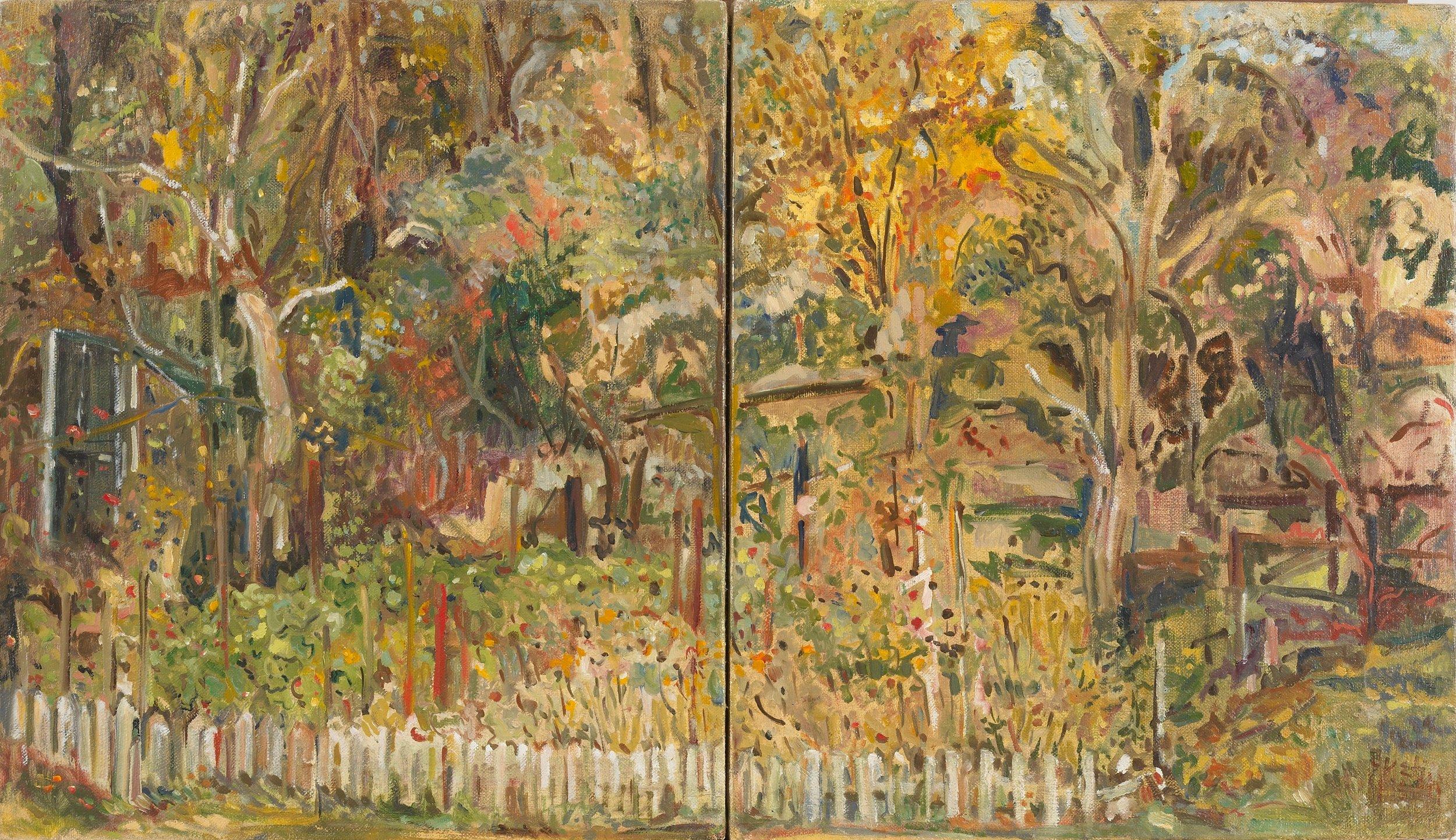 Harriet's Garden in Two Parts  24X14 - Oil on Canvas