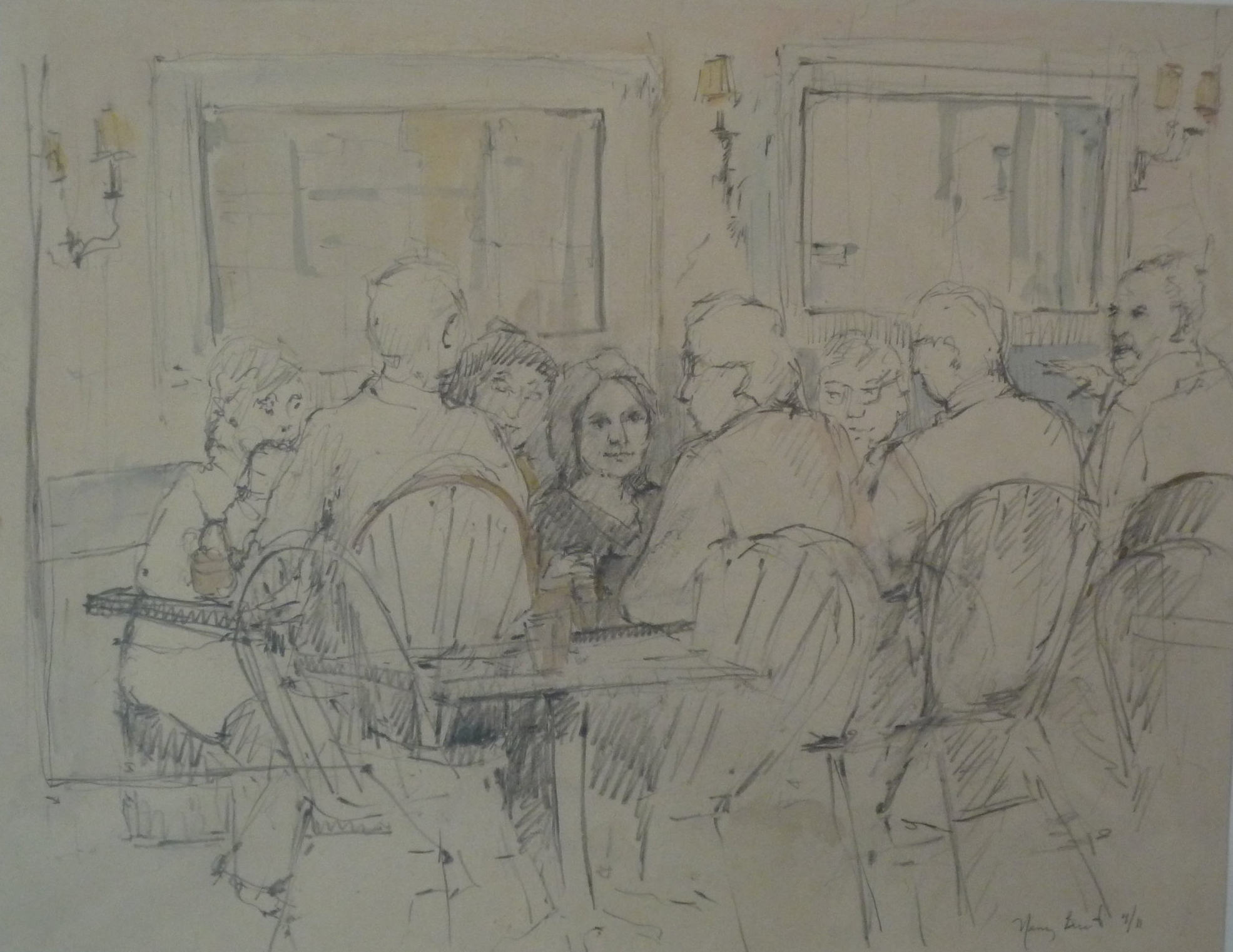 Retirees Lunch at the Tavern  Pencil and Watercolor