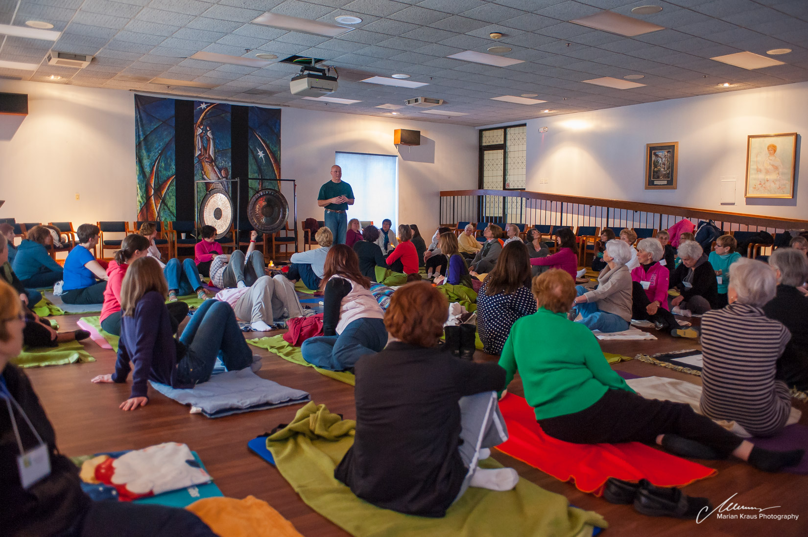 At a gong meditation performance with Marian Kraus during the women's retreat at the Carmelite Spiritual Center in Darien, IL.
