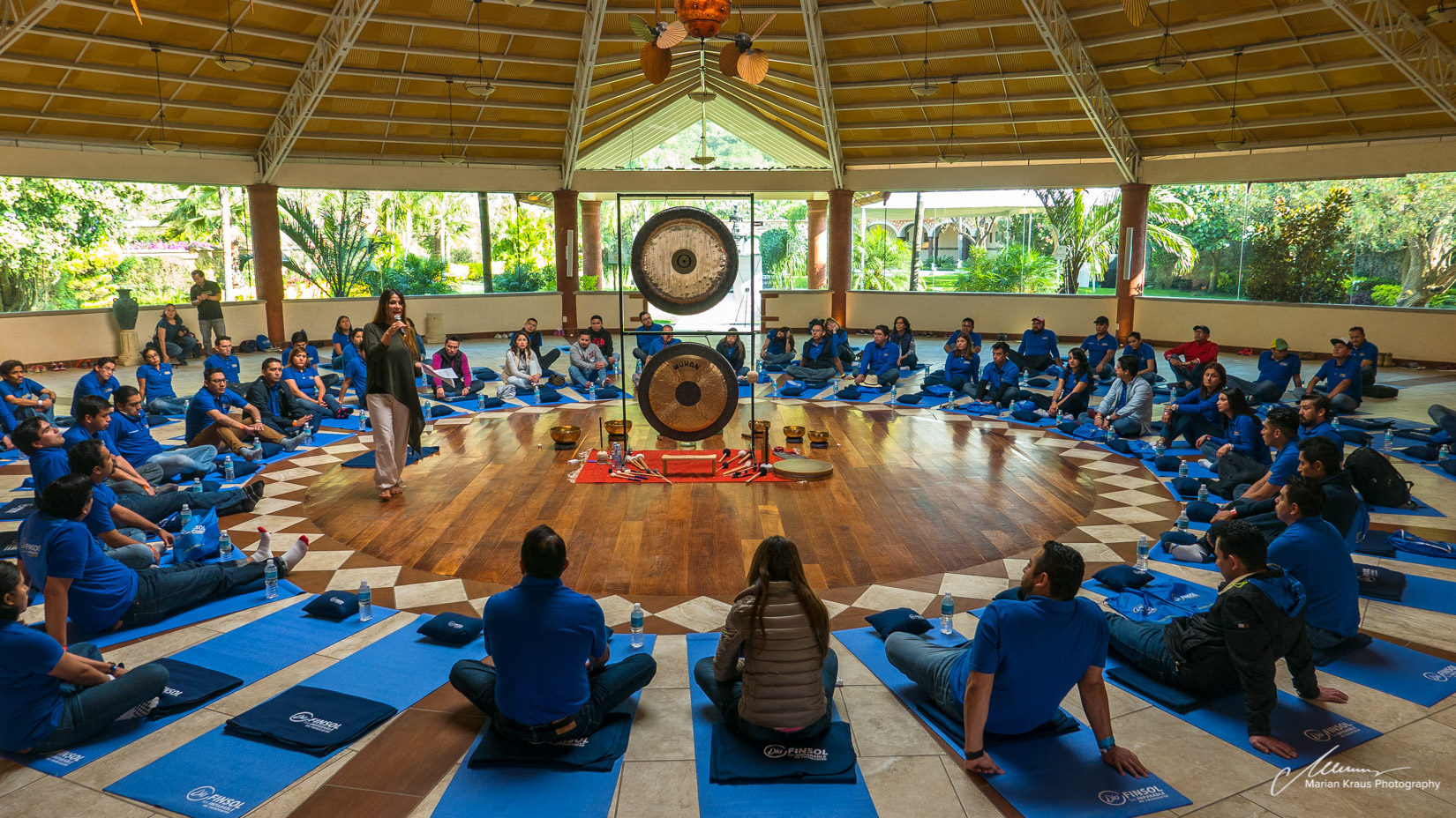 Corporate stress reduction workshop by Delamora Sound and Evolution, with Finsol employees at Hostal de la Luz in Tepoztlan, Mexico