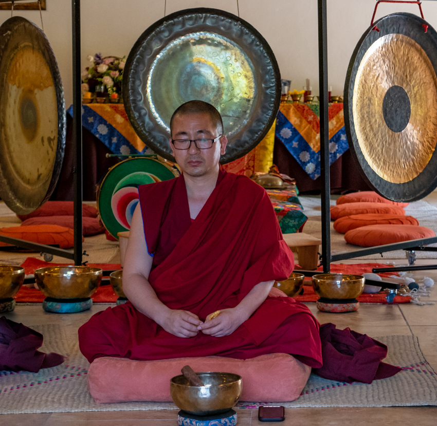 Tibetan monk with our gongs at Tepoztlan, Mexico