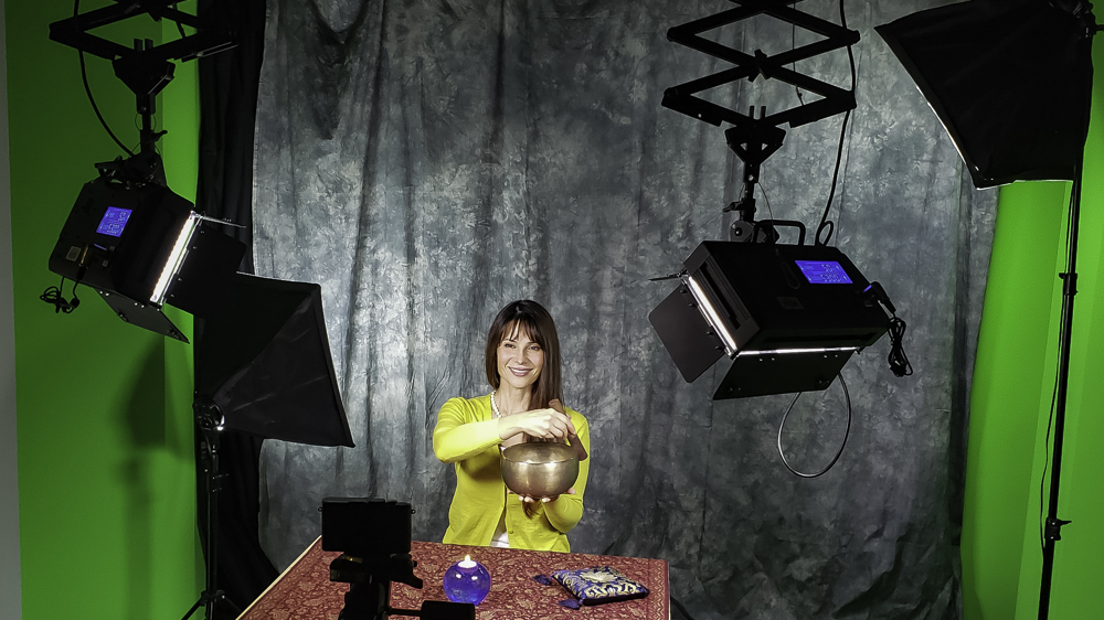 Gaby on set during video recordings