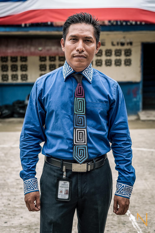 Portrait of Eufemio Barrantes, teacher in Gardi Sugdub's primary school.