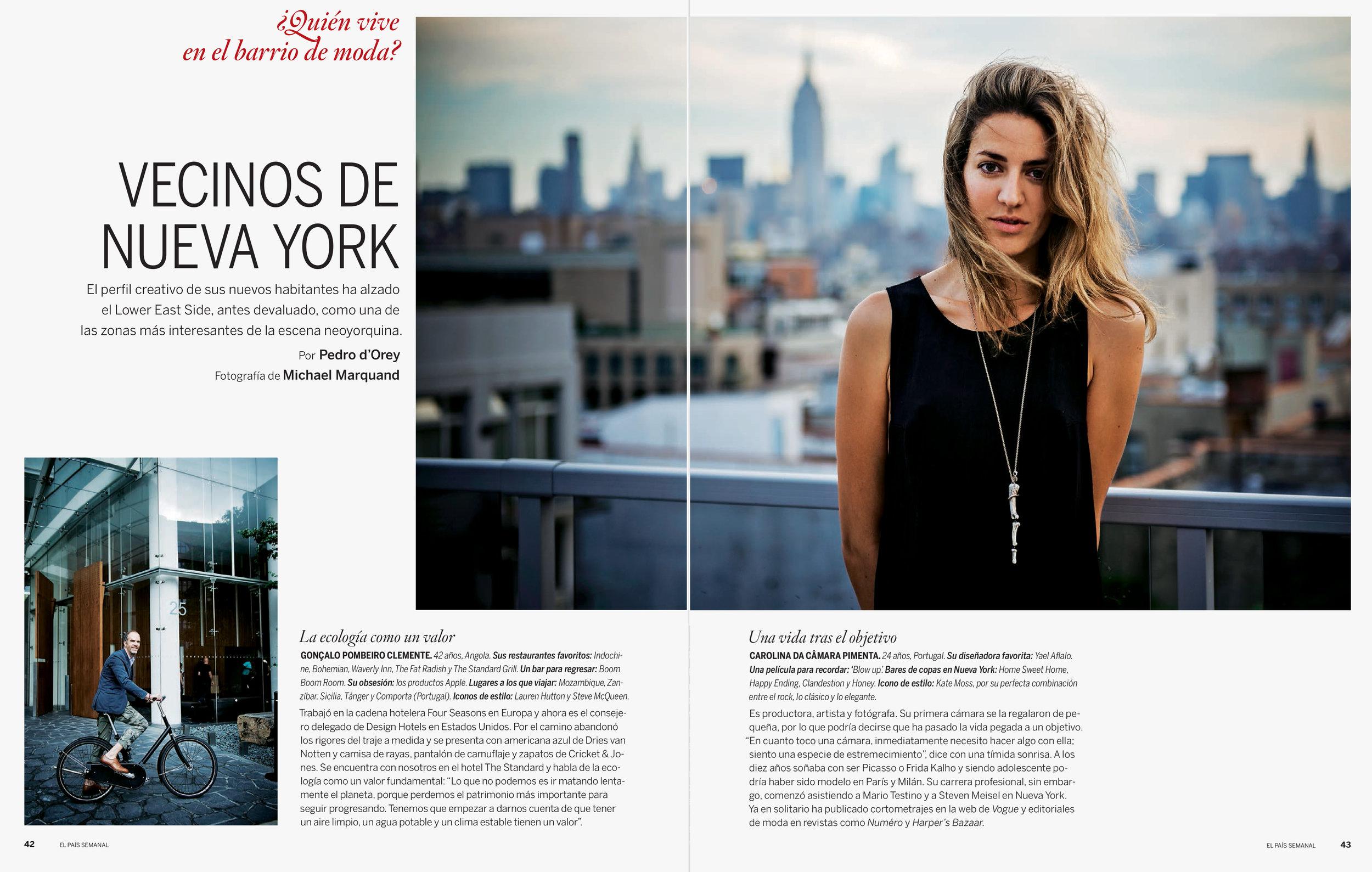 Vecinos de Nueva York, El Pais Semanal, 2012  Article in El Pais