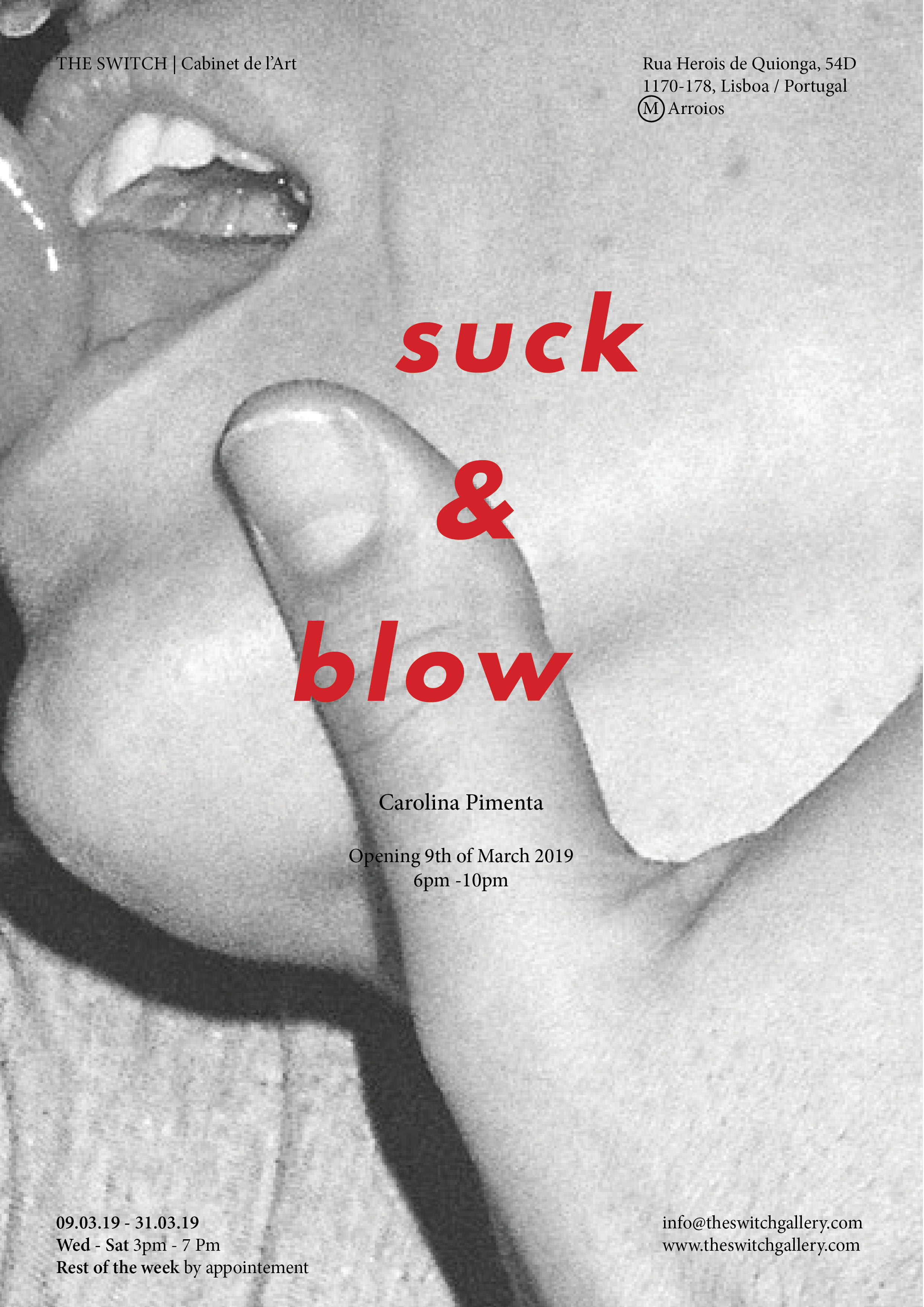 Suck & Blow,   The Switch , Lisbon, PT, 9 - 30 March 2019\  Opening of  Suck & Blow  exhibition at artist run gallery The Switch, March 9th at 6pm.