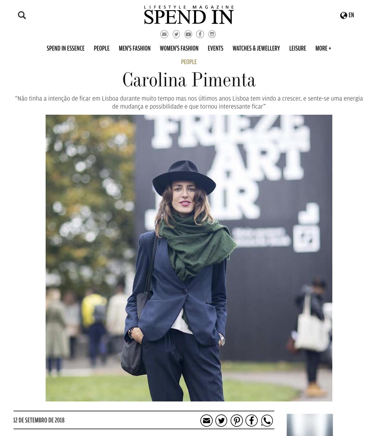 Carolina Pimenta,   Spend In , September 2018  Article in Spend In.com