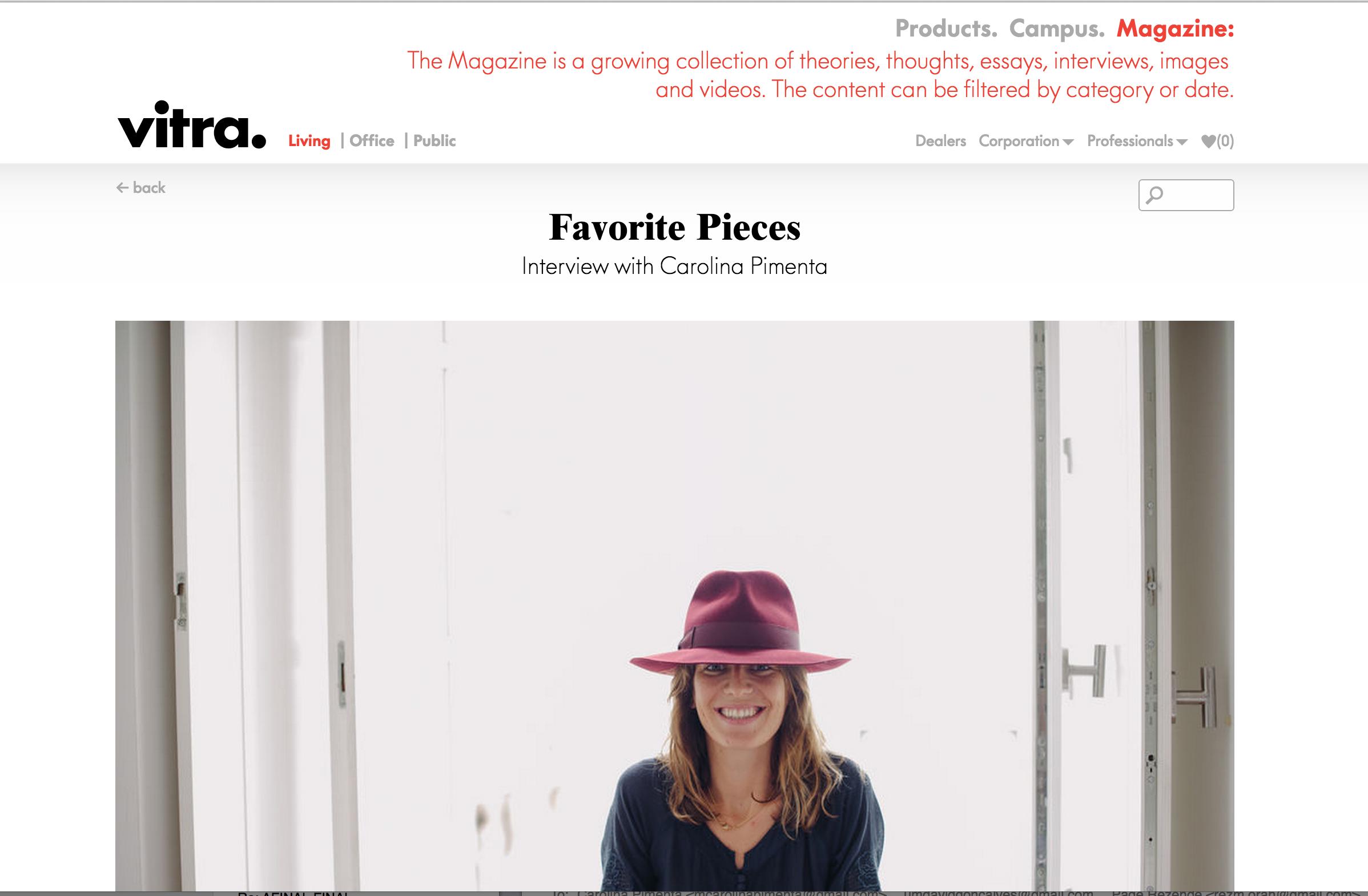 Favorite Pieces,   vitra,  January 2015  Interview by Antonia Heli for Freunde von Freuden & Vitra Magazine