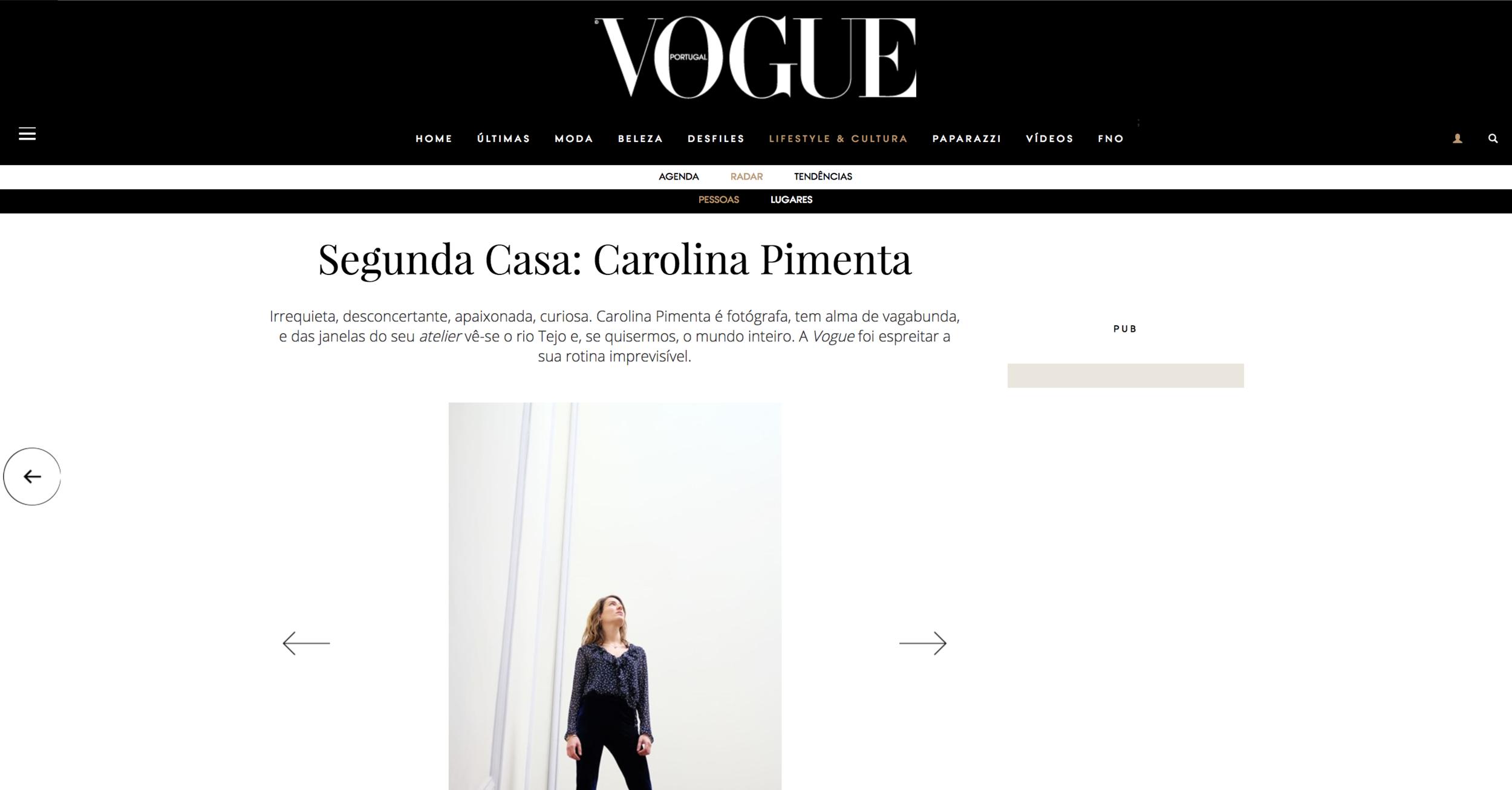 Segunda Casa: Carolina Pimenta , Vogue Portugal, February 2017  Interview by Ana Murcho for Vogue Portugal