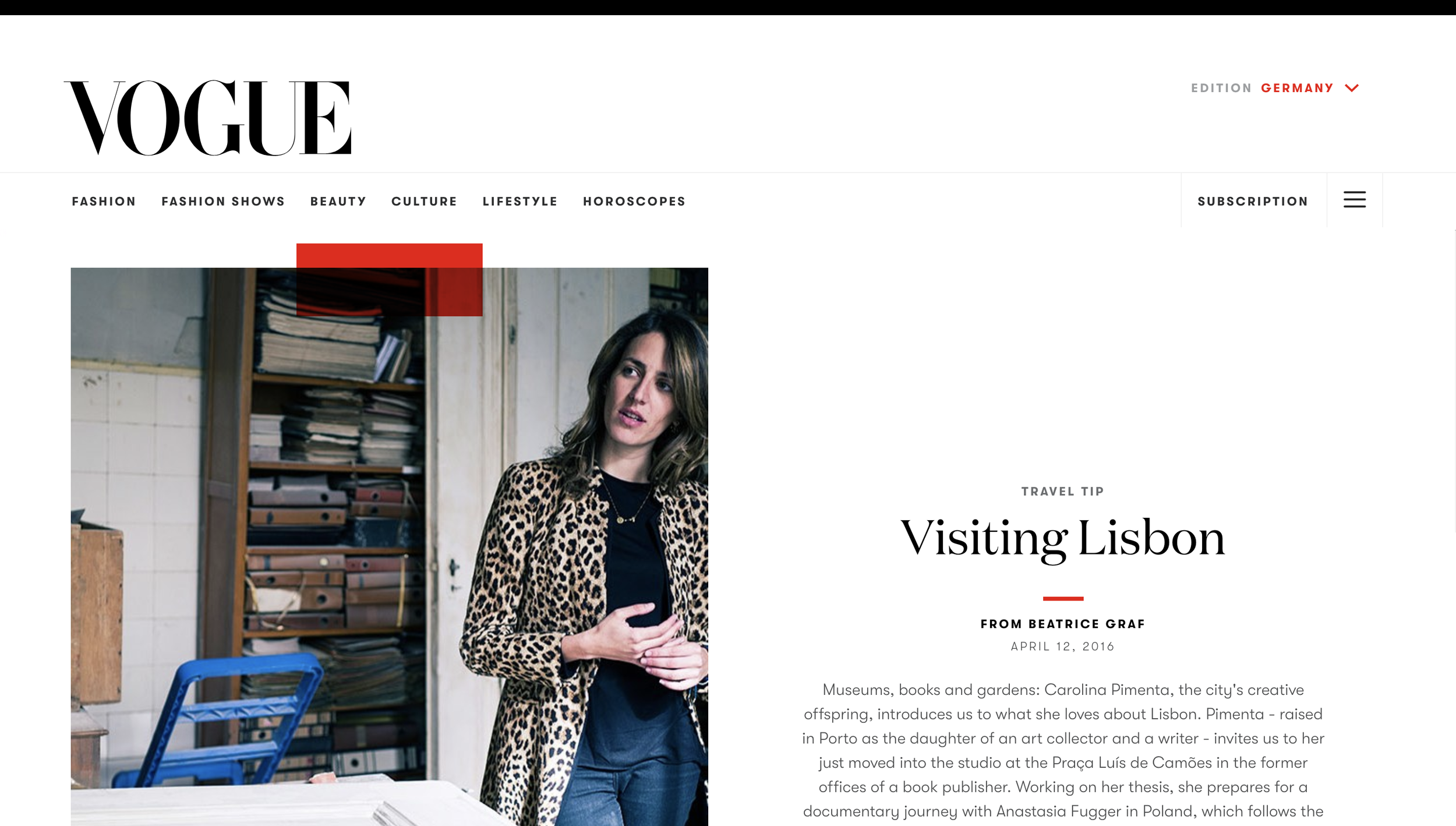 Zu Besuch in Lissabon ,  Vogue Germany,  April 2016  Article by Beatrice Graf,  Visiting Lisbon  for Vogue Germany.