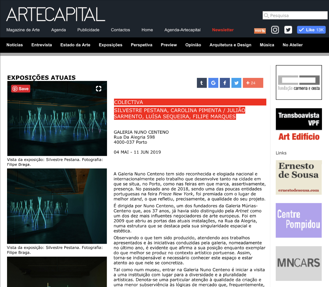 Colectiva,   ARTECAPITAL , May 2019  Exhibition review on artecapital.net